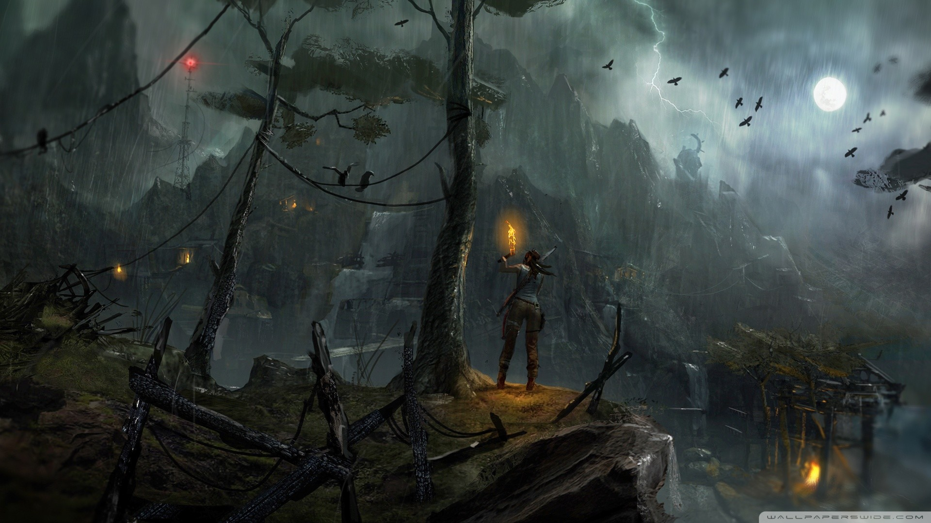 Res: 1920x1080,  Tomb Raider 2013 Night Concept Art wallpaper