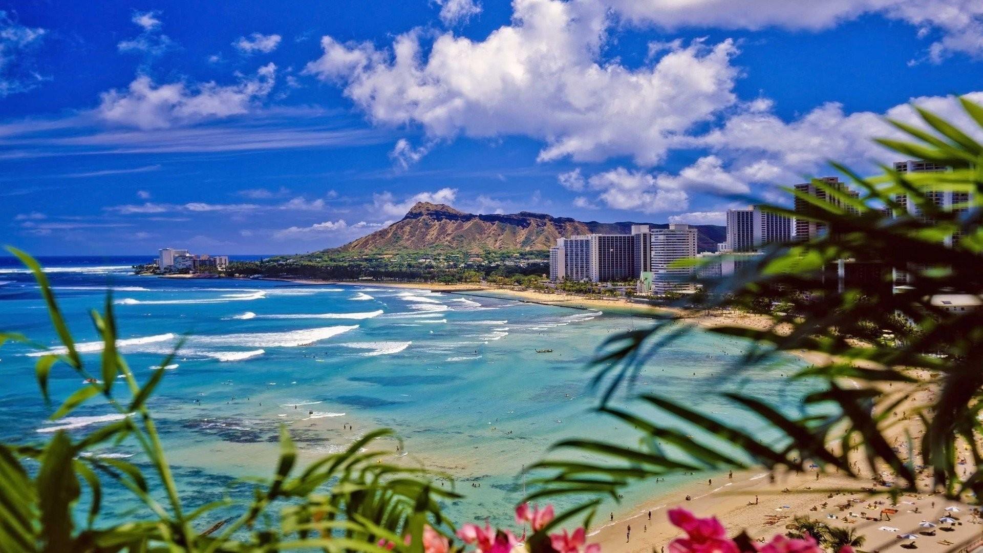 Res: 1920x1080, Waikiki Beach Oahu Desktop Wallpaper HD