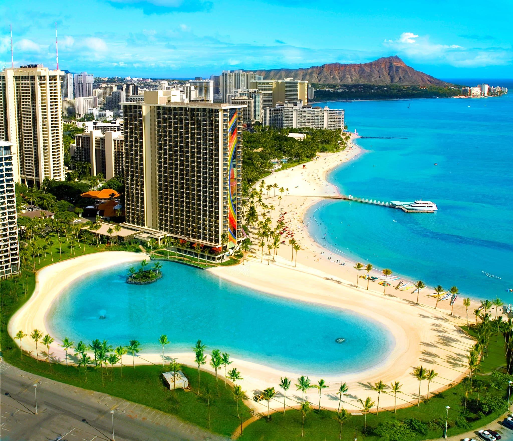 Res: 2048x1759, Bird's eye view of lagoon, beach and Rainbow Tower ...