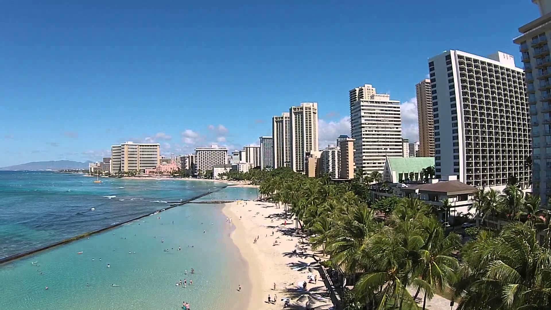 Res: 1920x1080, Waikiki Beach in Hawaii near the Honolulu Zoo DJI Phantom Drone