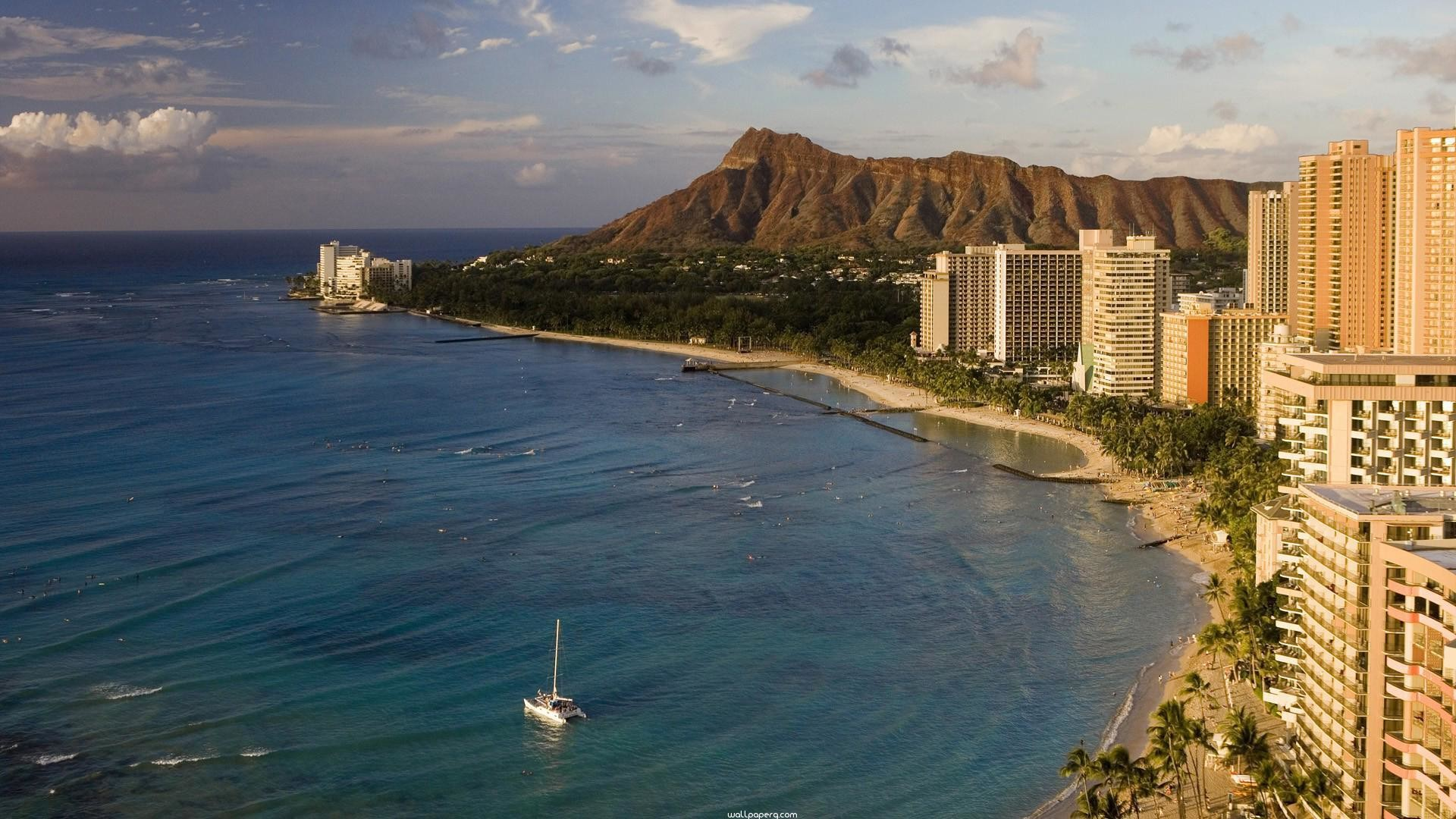 """Res: 1920x1080, Download """"Waikiki beach honolulu oahu hd wallpaper for laptop"""" wallpaper  for mobile cell phone."""