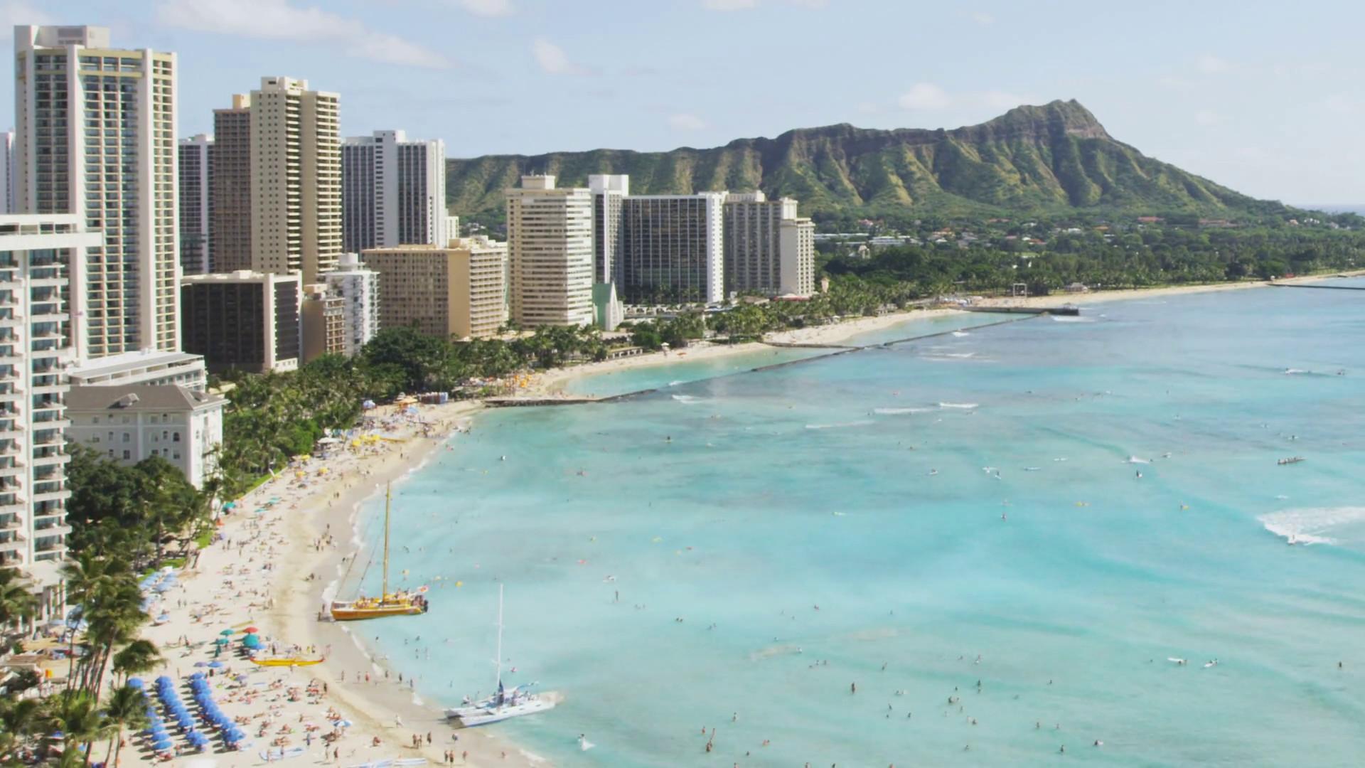 Res: 1920x1080, Waikiki beach in Honolulu on Oahu, Timelapse of the famous Diamond Head in  tropical Oahu, Hawaii, USA. Shot on RED EPIC. Stock Video Footage -  Videoblocks
