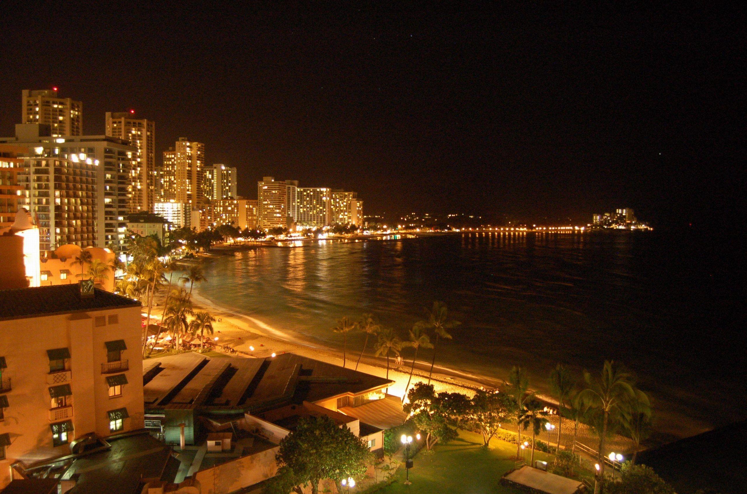 Res: 2560x1695, Waikiki Beach at night, Honolulu, Hawaii, USA Desktop Wallpapers and .