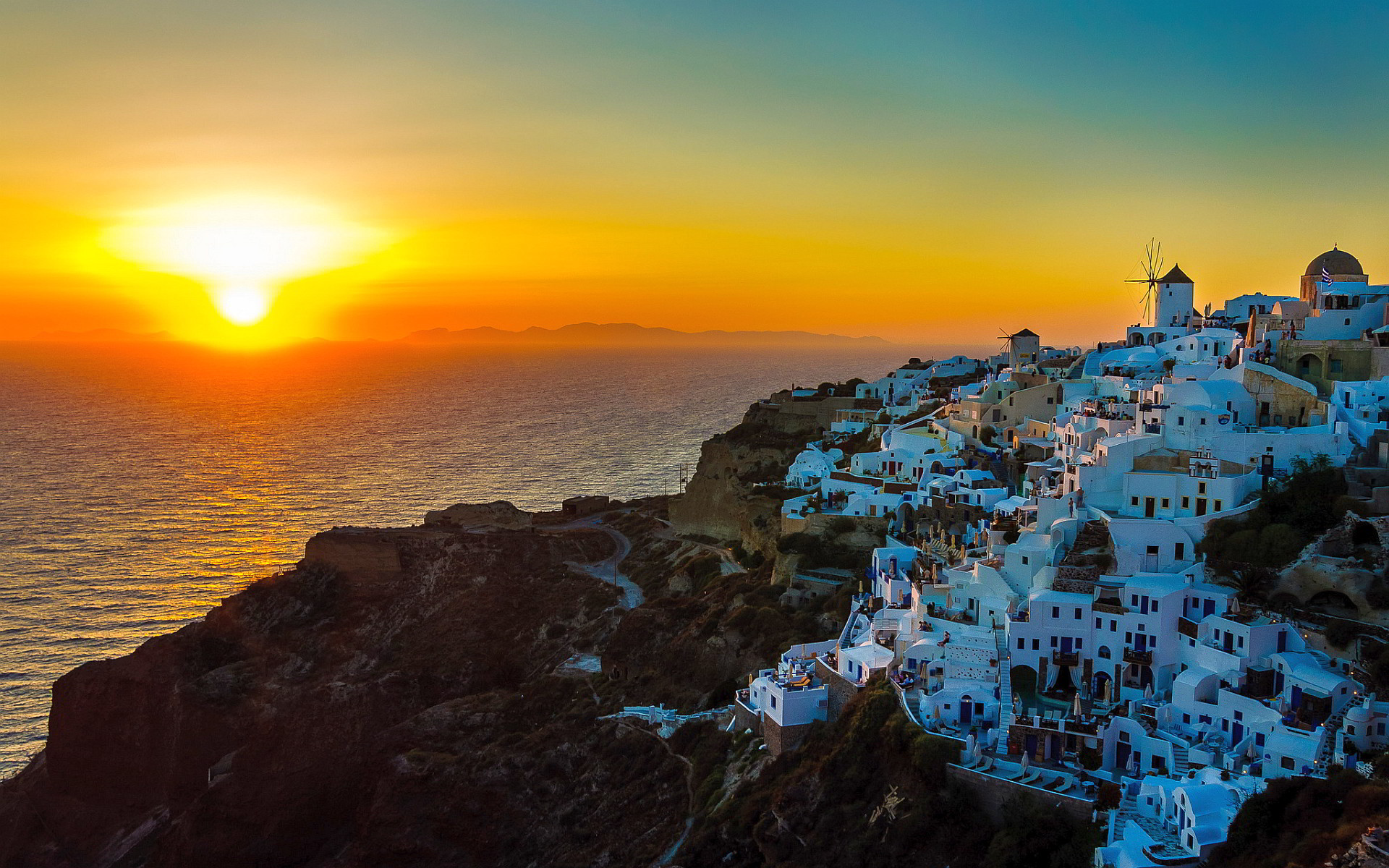Res: 1920x1200, Sunset oia santorini greece