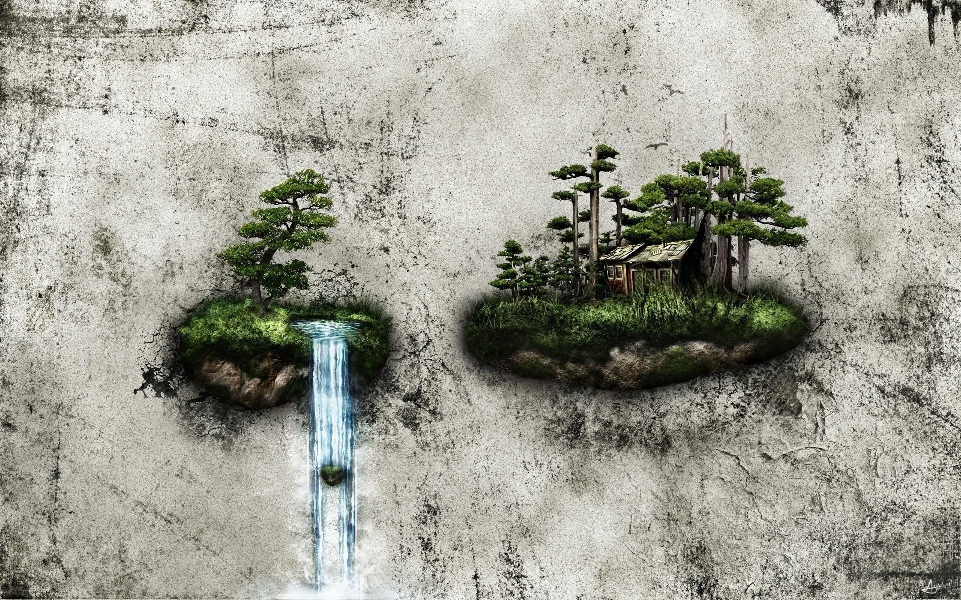 Res: 1920x1200, Bild: Wasserfall Island House Bonsai wallpapers and stock photos. Â«