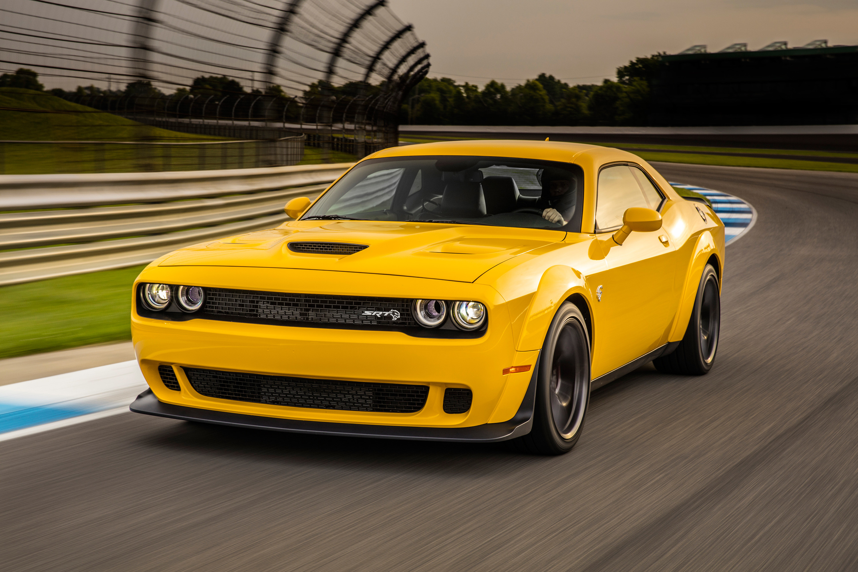 Res: 3000x2000, Dodge Challenger SRT Hellcat Widebody, Yellow, 2018, HD