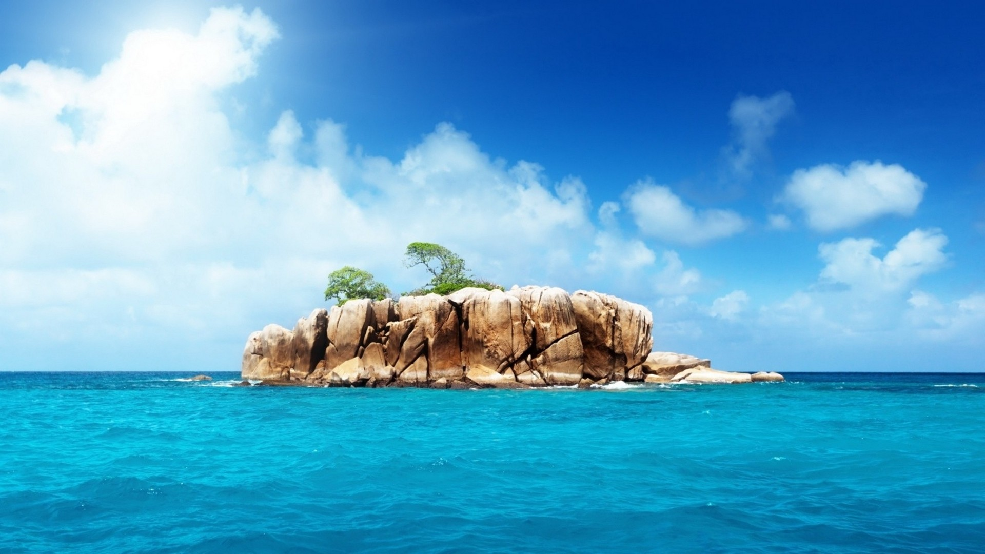 Res: 1920x1080,  Wallpaper island, rocks, sea