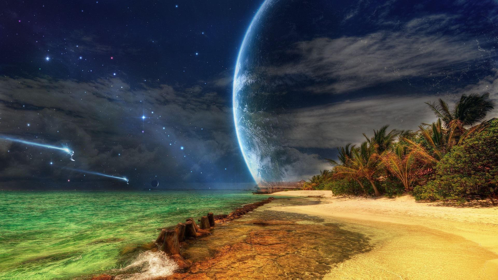 Res: 1920x1080, Spaceships approaching tropical island HD wallpaper