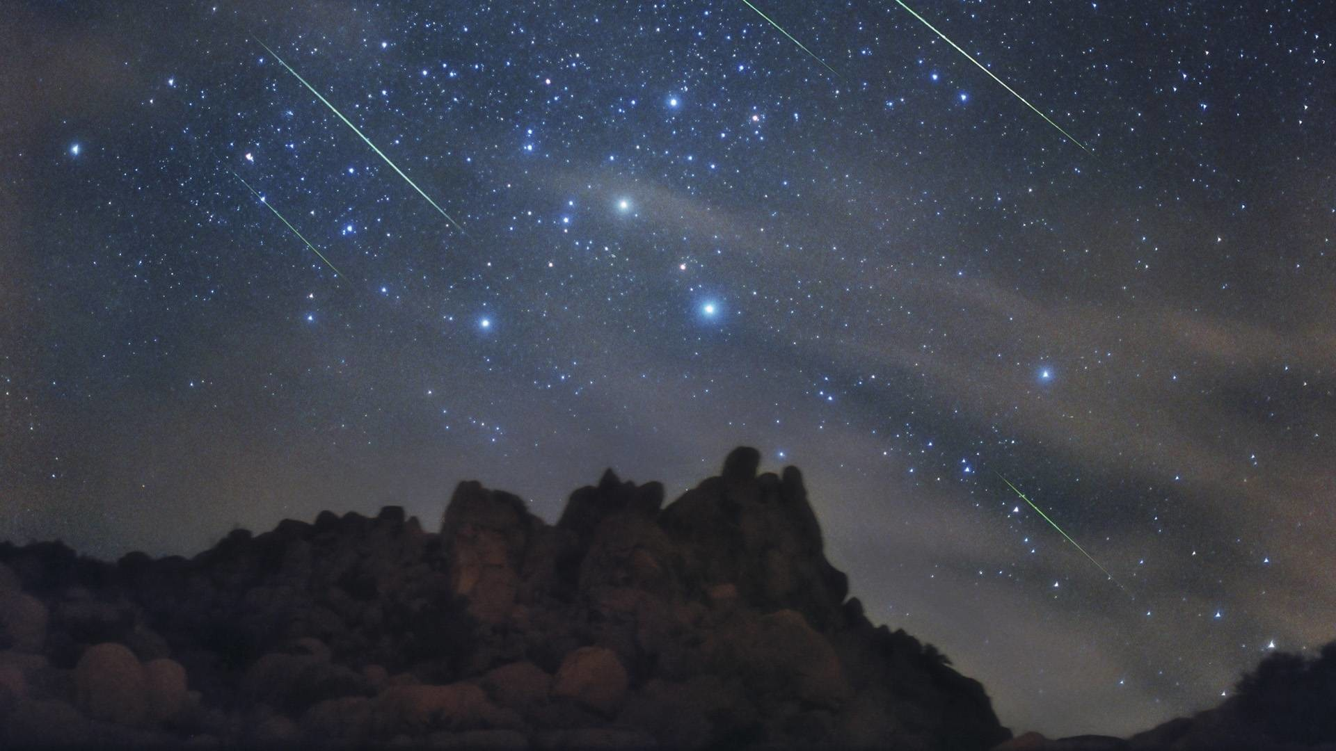 Res: 1920x1080, Beautiful Night Sky With Shooting Stars Wallpaper