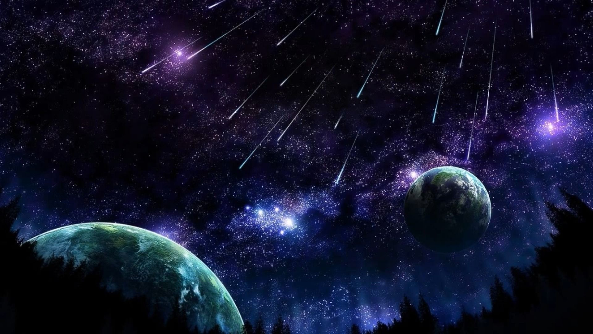 Res: 1920x1080, Shooting Stars Planets wallpaper free