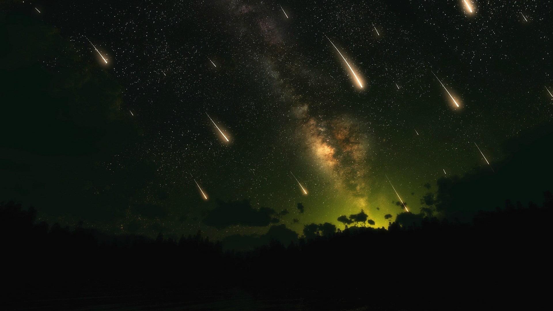Res: 1920x1080, white shooting stars at nighttime HD wallpaper