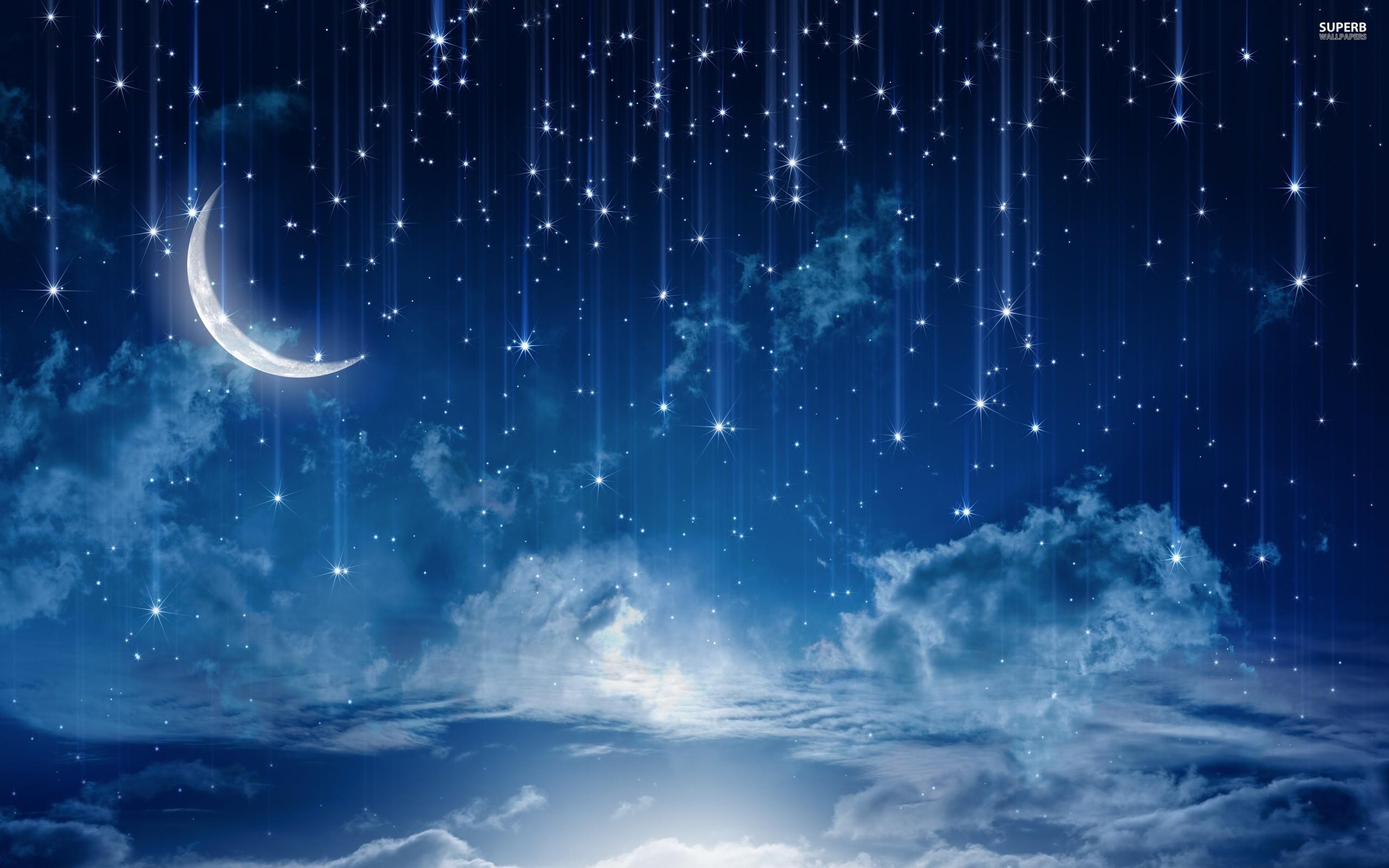 Res: 2560x1600, Night Sky Stars Moon Wallpaper