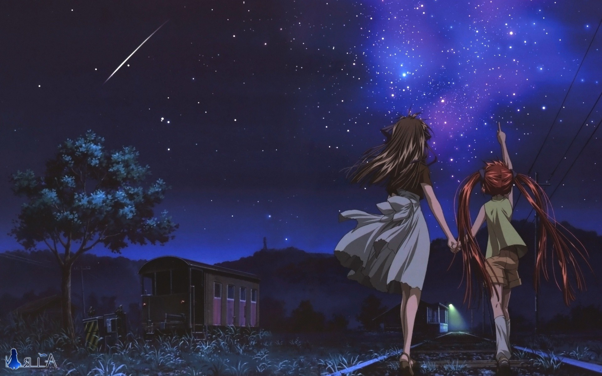 Res: 1920x1200, anime night stars shooting stars air anime wallpaper and background