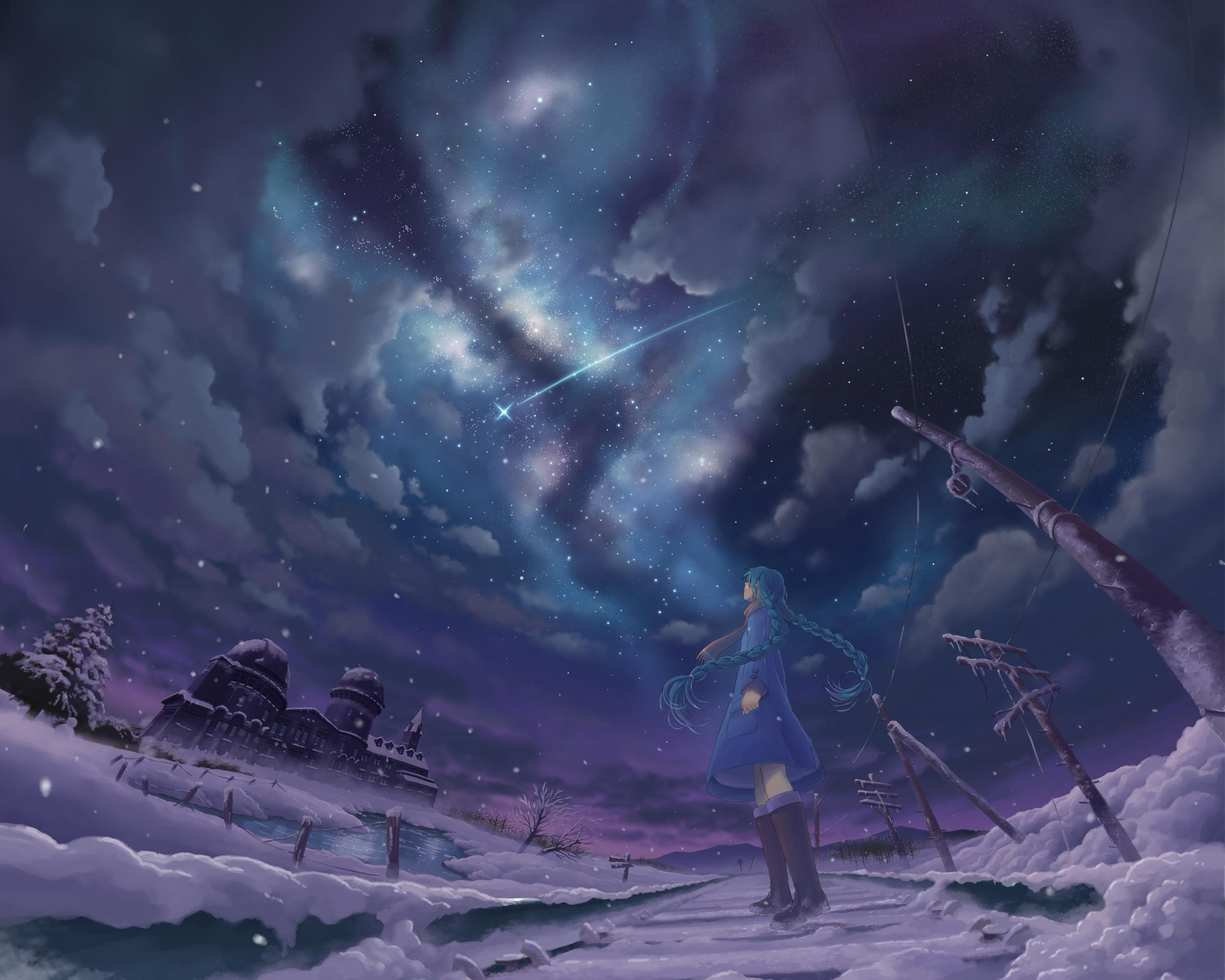 Res: 2500x2000, Wallpaper anime girls, snow, stars, night, winter, shooting stars