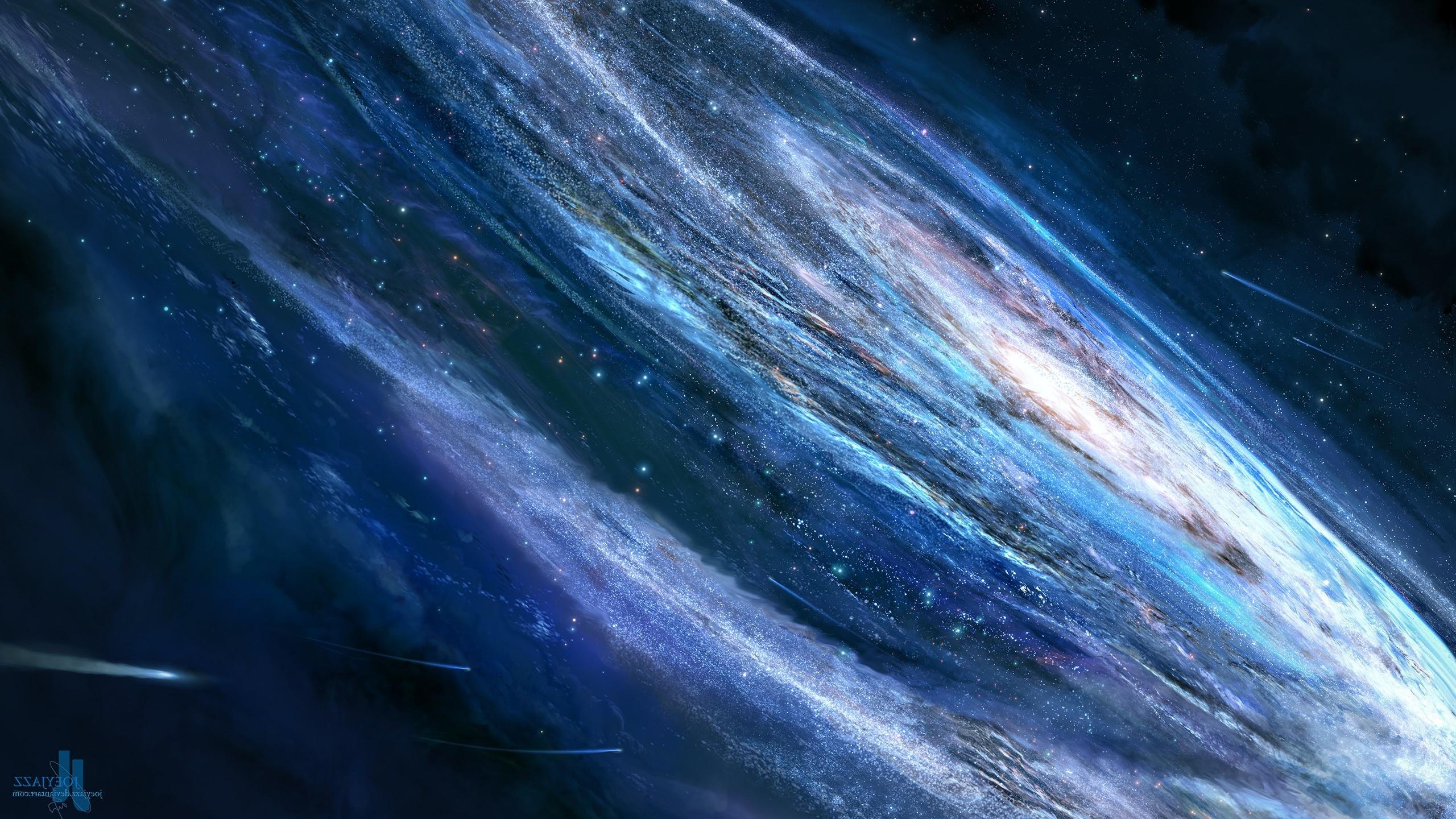 Res: 2560x1440, joeyjazz space space art galaxy stars artwork digital art shooting stars  wallpaper and background