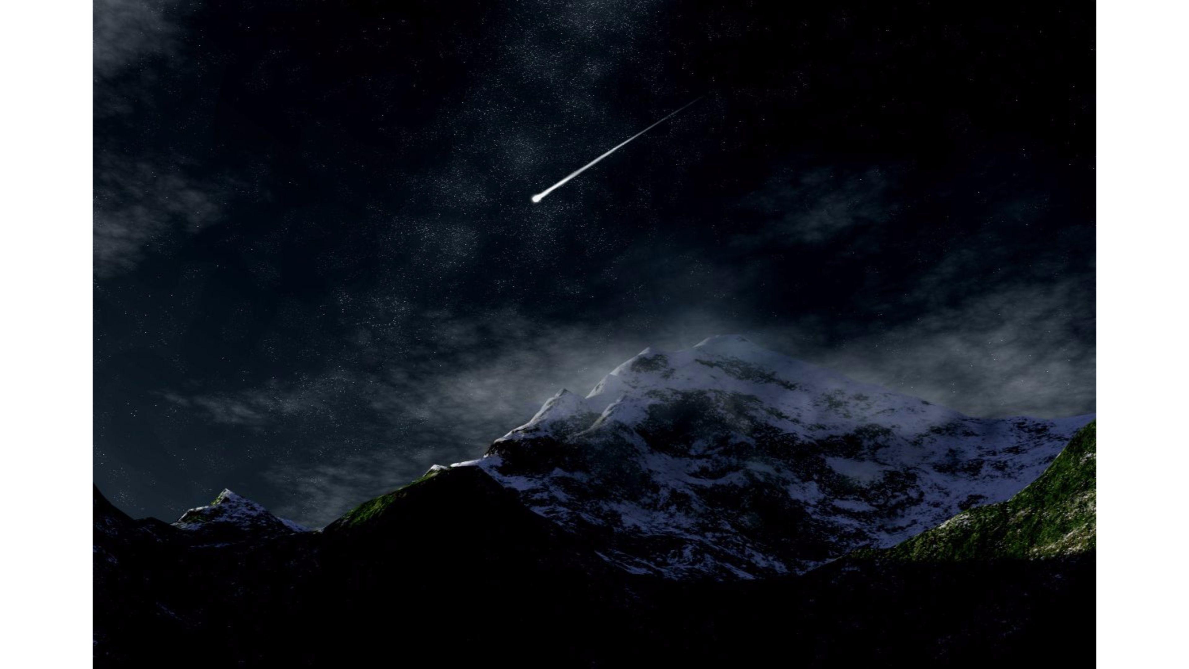 Res: 3840x2160, Shooting Star at Night 4K Wallpaper