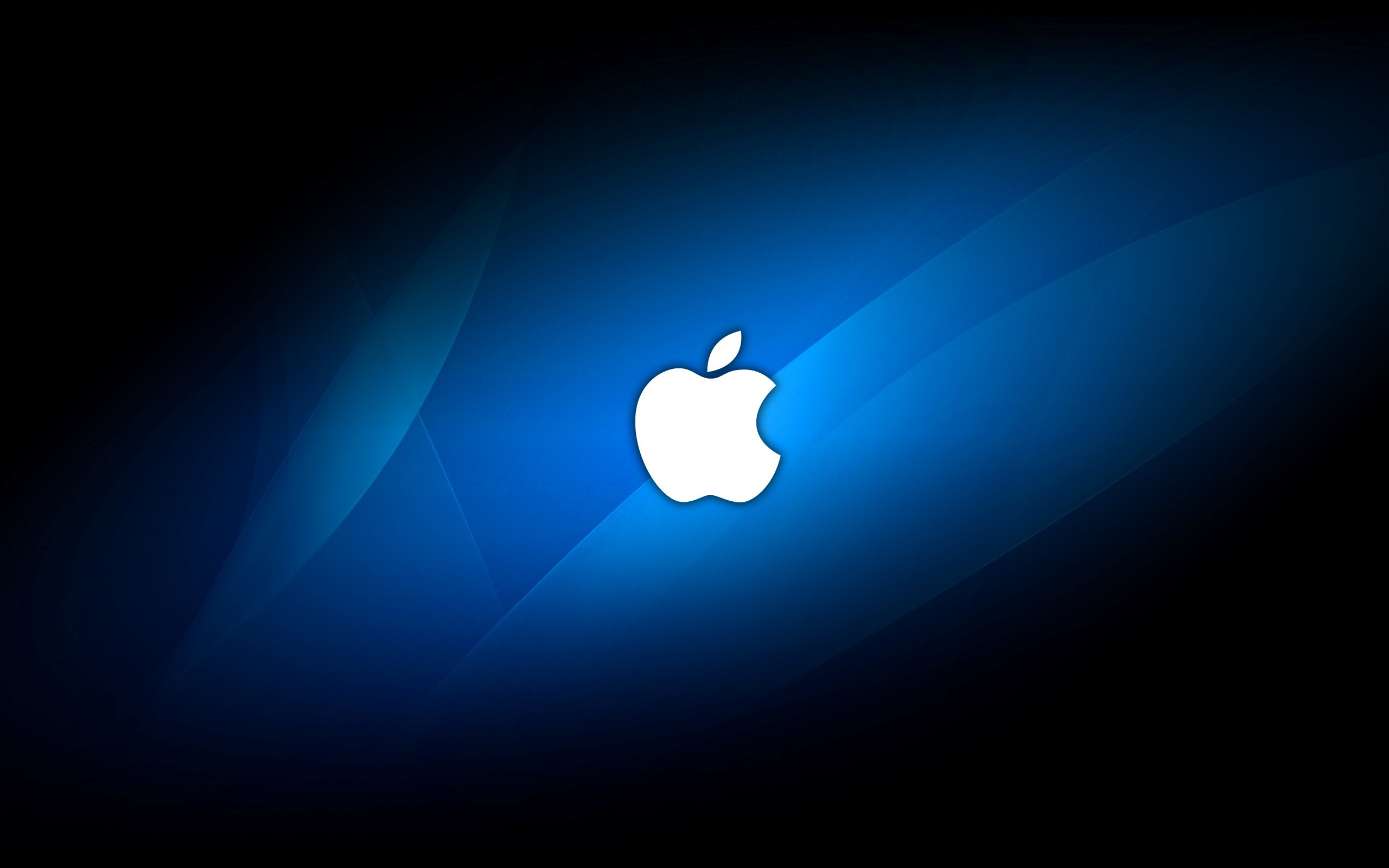 Res: 2560x1600, Apple Company Logo in Blue Background Image