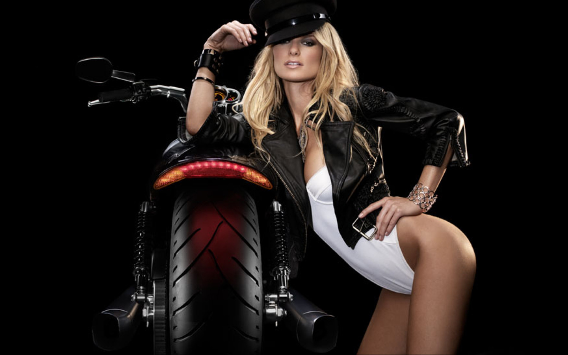 Res: 1920x1200, Supermodel Marisa Miller on a Harley-Davidson V-Rod Muscle Motorcycle ( Wallpaper Size