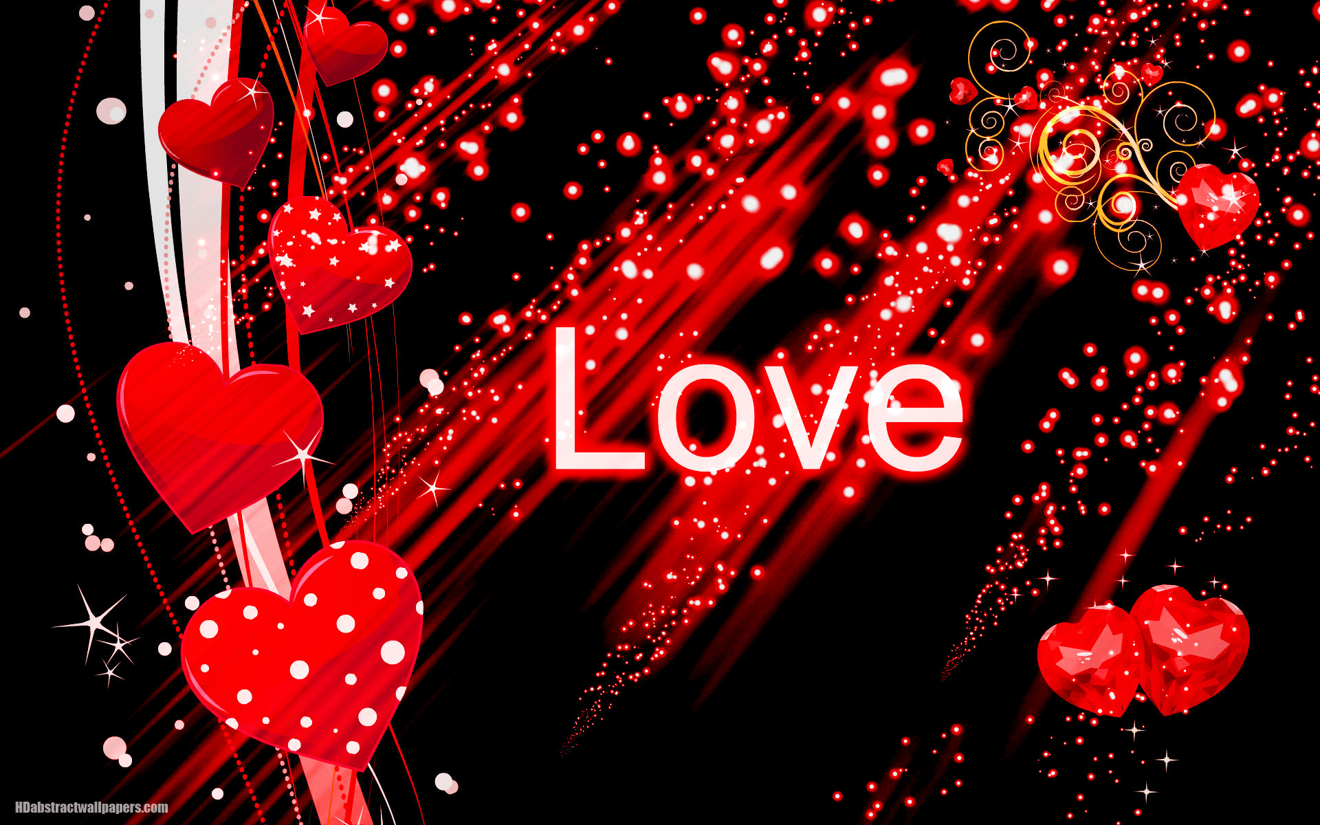 Res: 1920x1200, Black abstract wallpaper with red love hearts | HD Abstract Wallpapers