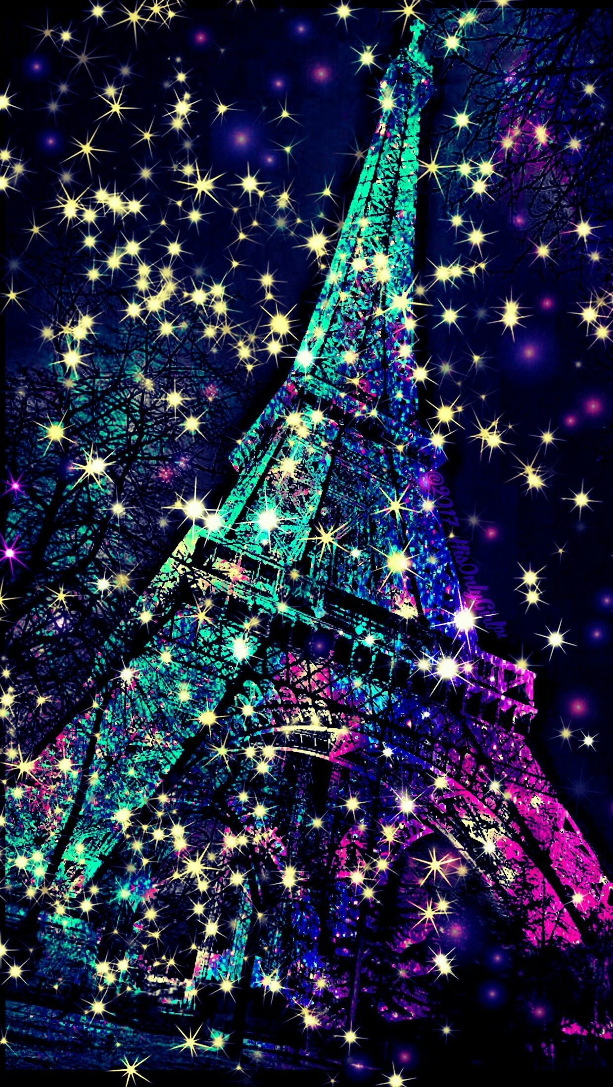 Res: 1239x2198, Eiffel Tower sparkle galaxy wallpaper I created for the app CocoPPa!
