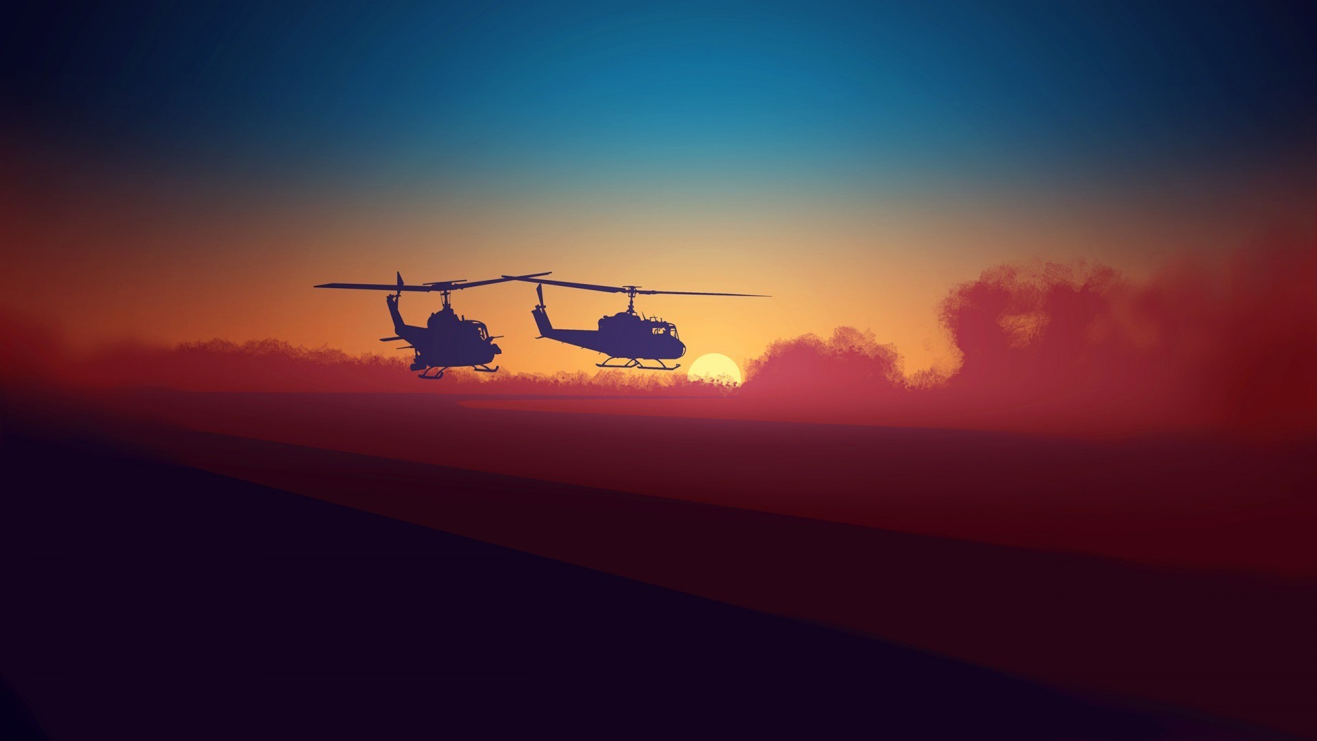 Res: 1920x1080, artwork, Helicopters, Colorful, Sunrise, Sand, UH 1, Huey Helicopter  Wallpapers HD / Desktop and Mobile Backgrounds