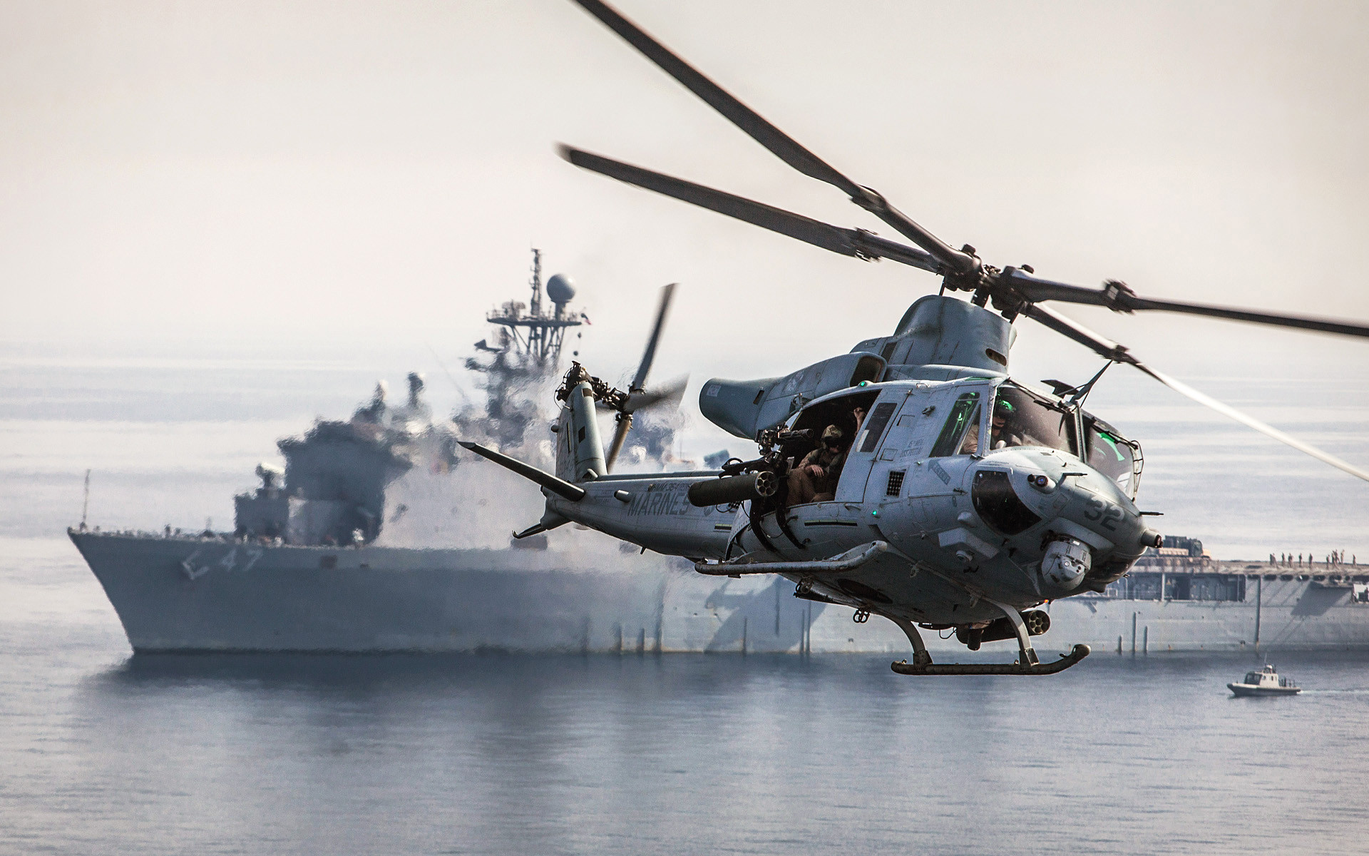 Res: 1920x1200, Helicopter Ships boats ocean sea military wallpaper      71527    WallpaperUP