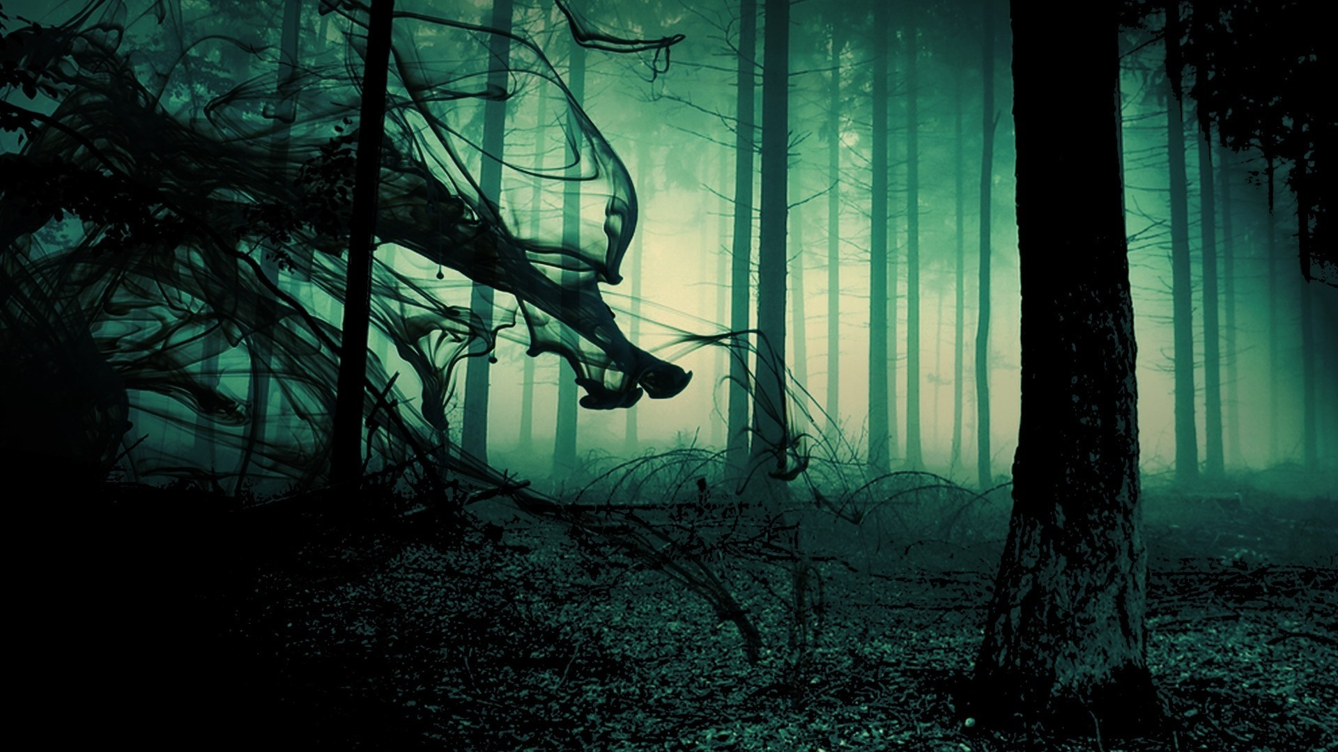 Res: 1920x1080, Creepy Dark Fog In Gothic Forest Wallpaper