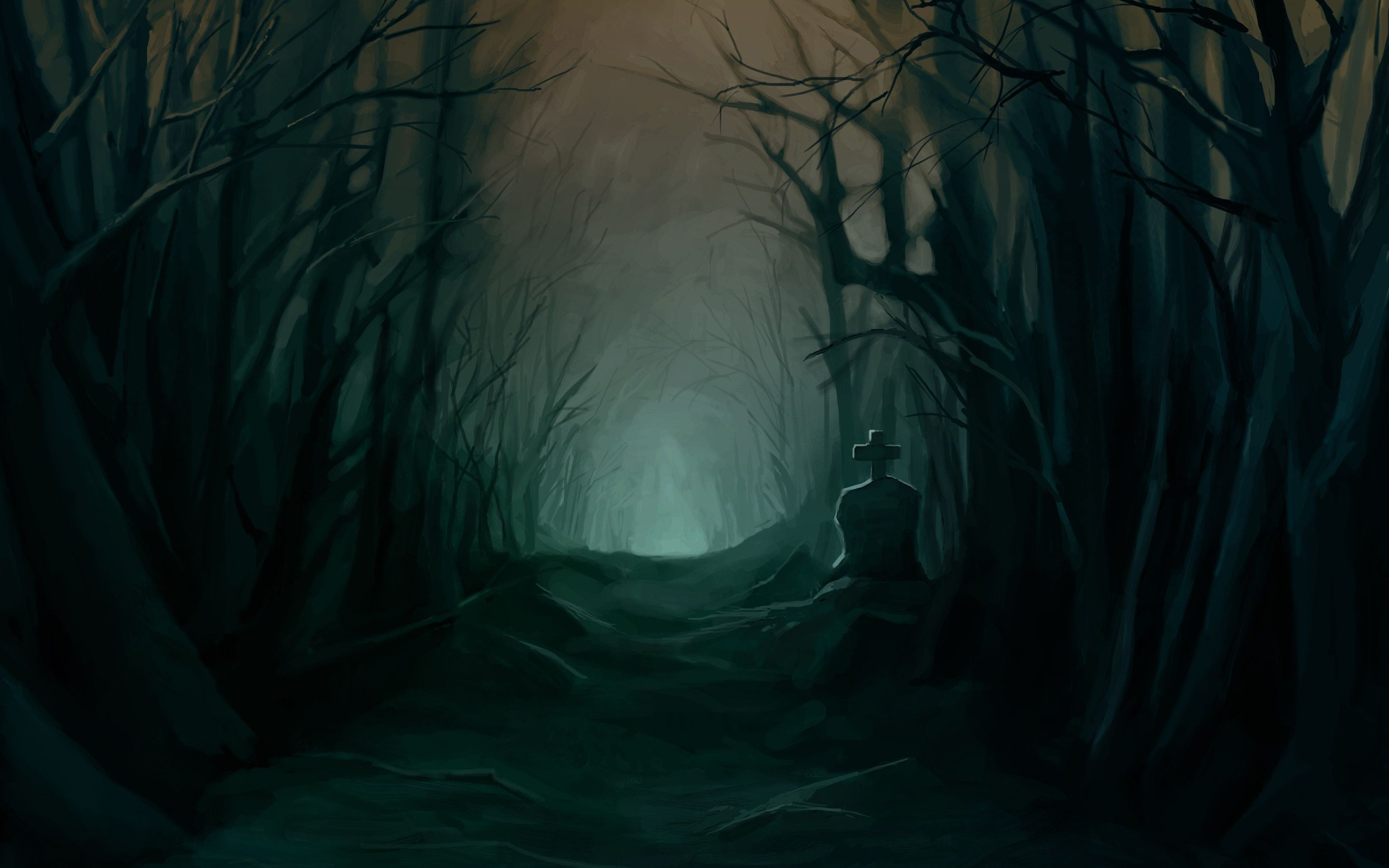 Res: 2880x1800, Wallpaper Dark Forest, Creepy, Grave, Path, Scary, Trees .