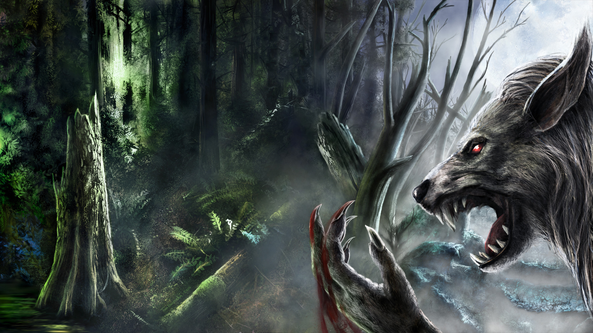 Res: 1920x1080, Werewolf fantasy art dark monster creatures blood fangs trees forest spooky creepy  scary evil wallpaper |  | 41739 | WallpaperUP
