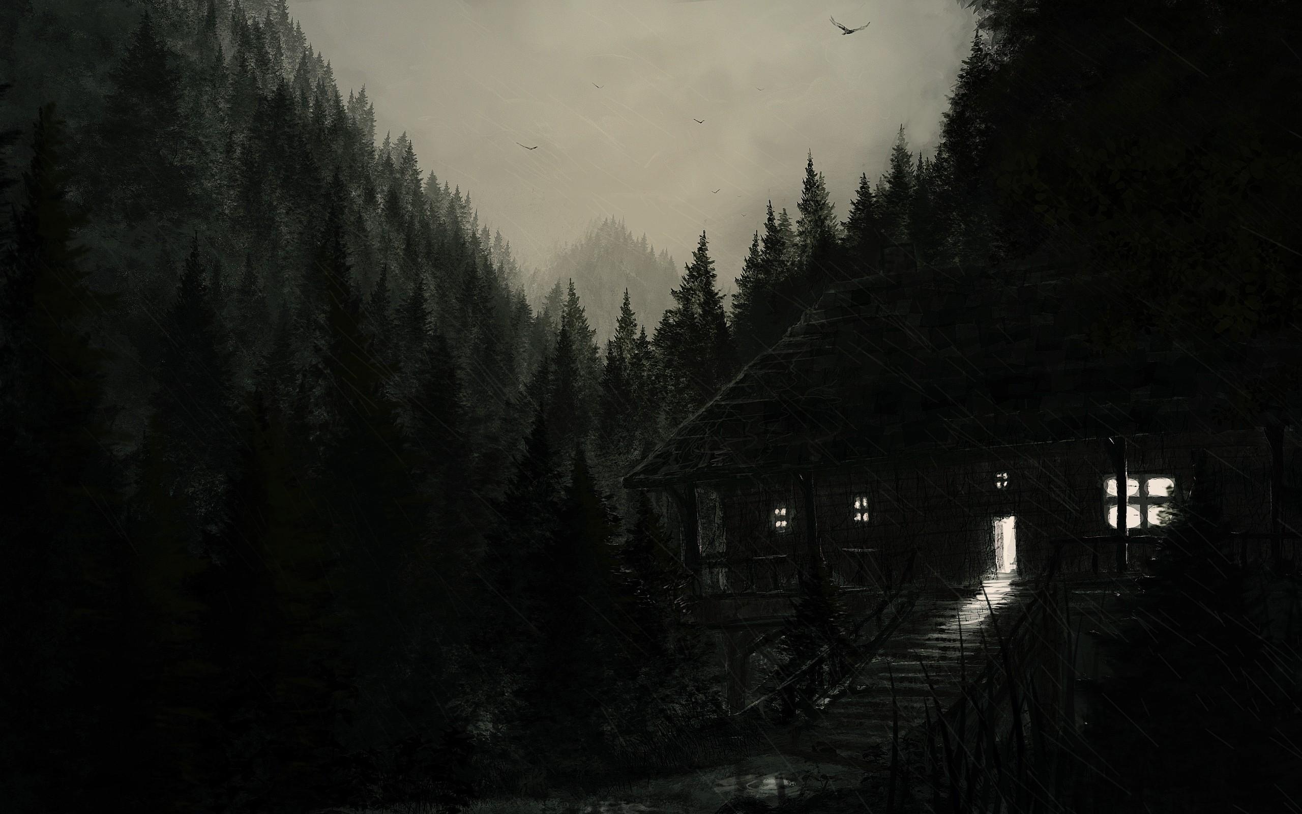 Res: 2560x1600, Dark Rainy Cabin HD Wallpaper