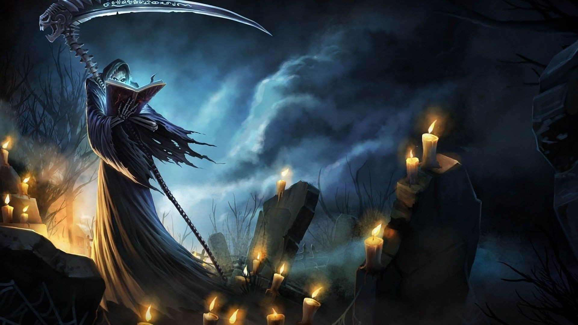 Res: 1920x1080,  Grim Reaper in the cemetery Fantasy HD desktop wallpaper,  Cemetery wallpaper, Grim Reaper