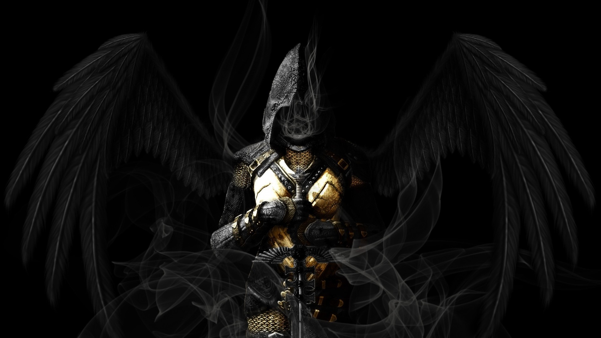 Res: 1920x1080, grim reaper wallpaper  - Angel Wings Black Sword gothic dark reaper  grim angels