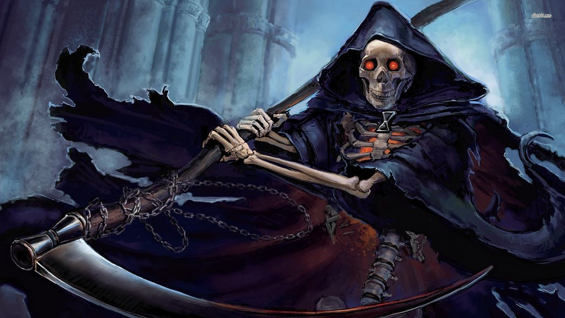 Res: 1920x1080, ... Skeleton grim reaper wallpaper  ...