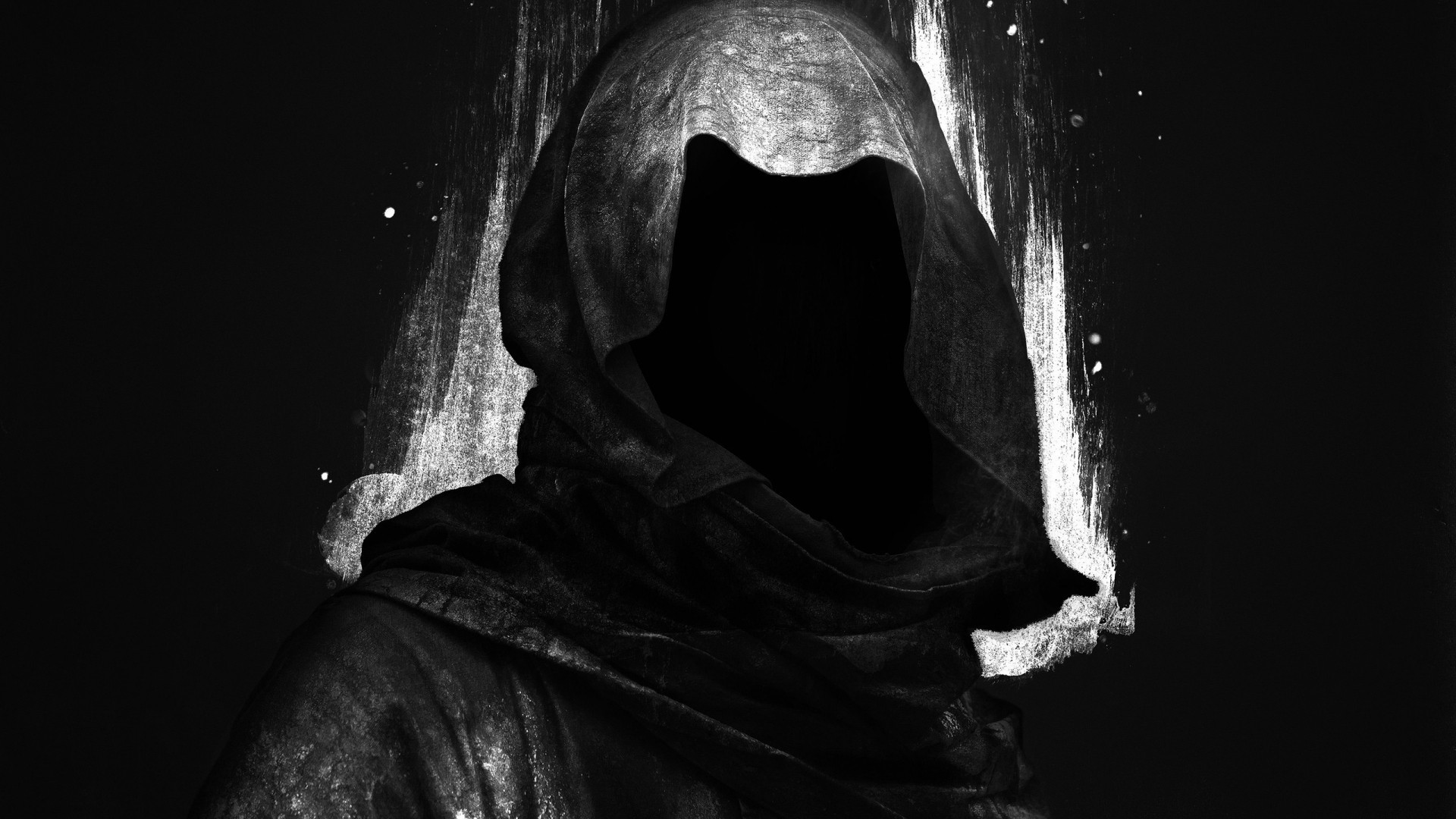 Res: 1920x1080, black background, Digital art, Hoods, Faceless, Dark, Grim Reaper Wallpapers  HD / Desktop and Mobile Backgrounds
