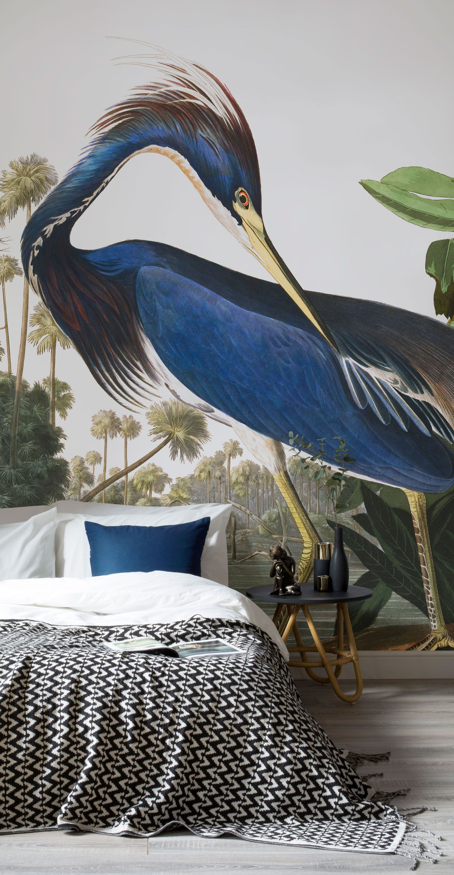 Res: 1500x2893, Bring an air of sophistication to your interiors with this classic Birds of  America wallpaper. Revel in the royal blue hues and transform your bedroom  ...