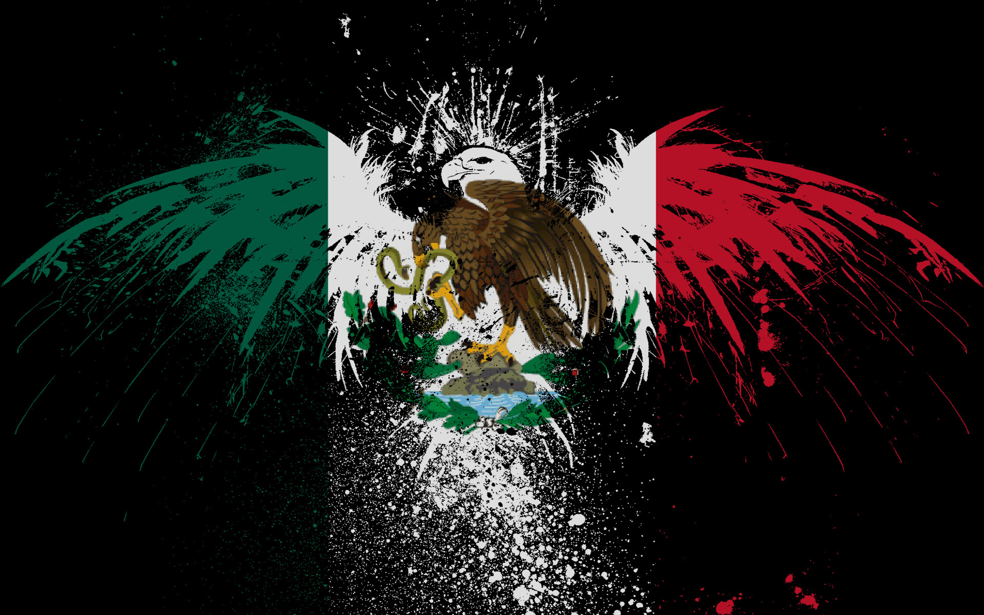 Res: 1920x1200, Mexico, Logos, Eagle, Snake, Green, Red, Dark Background wallpaper thumb