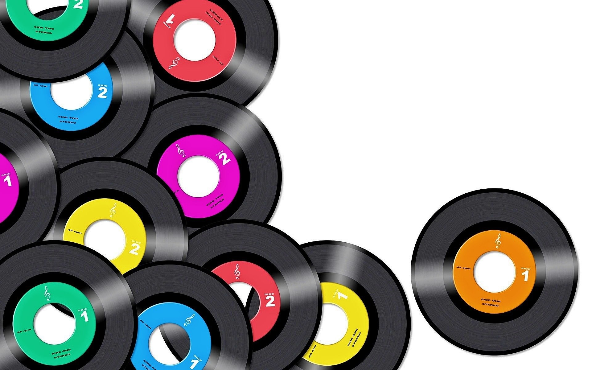Res: 1920x1200, Music - Record Music Colorful Vintage Retro Wallpaper