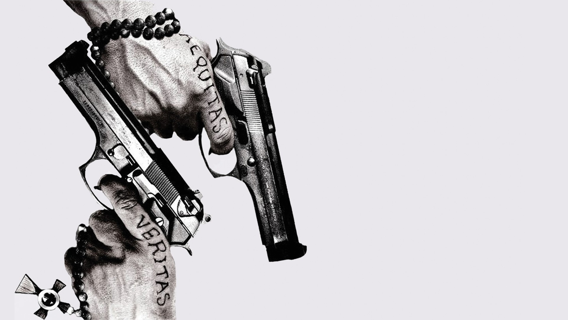Res: 1920x1080, Cross pistols guns movies boondock saints monochrome white background rosary   wallpaper