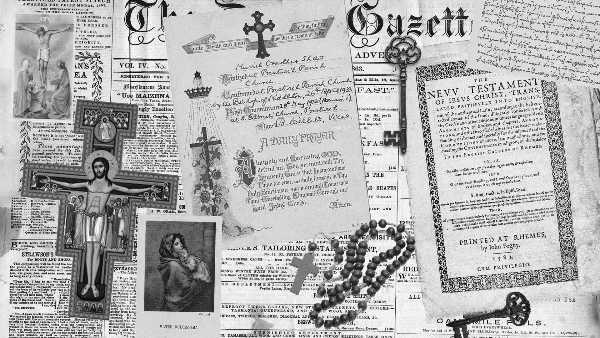 Res: 1920x1080, monochrome, Jesus Christ, Cross, Holy rosary, Keys Wallpapers HD / Desktop  and Mobile Backgrounds