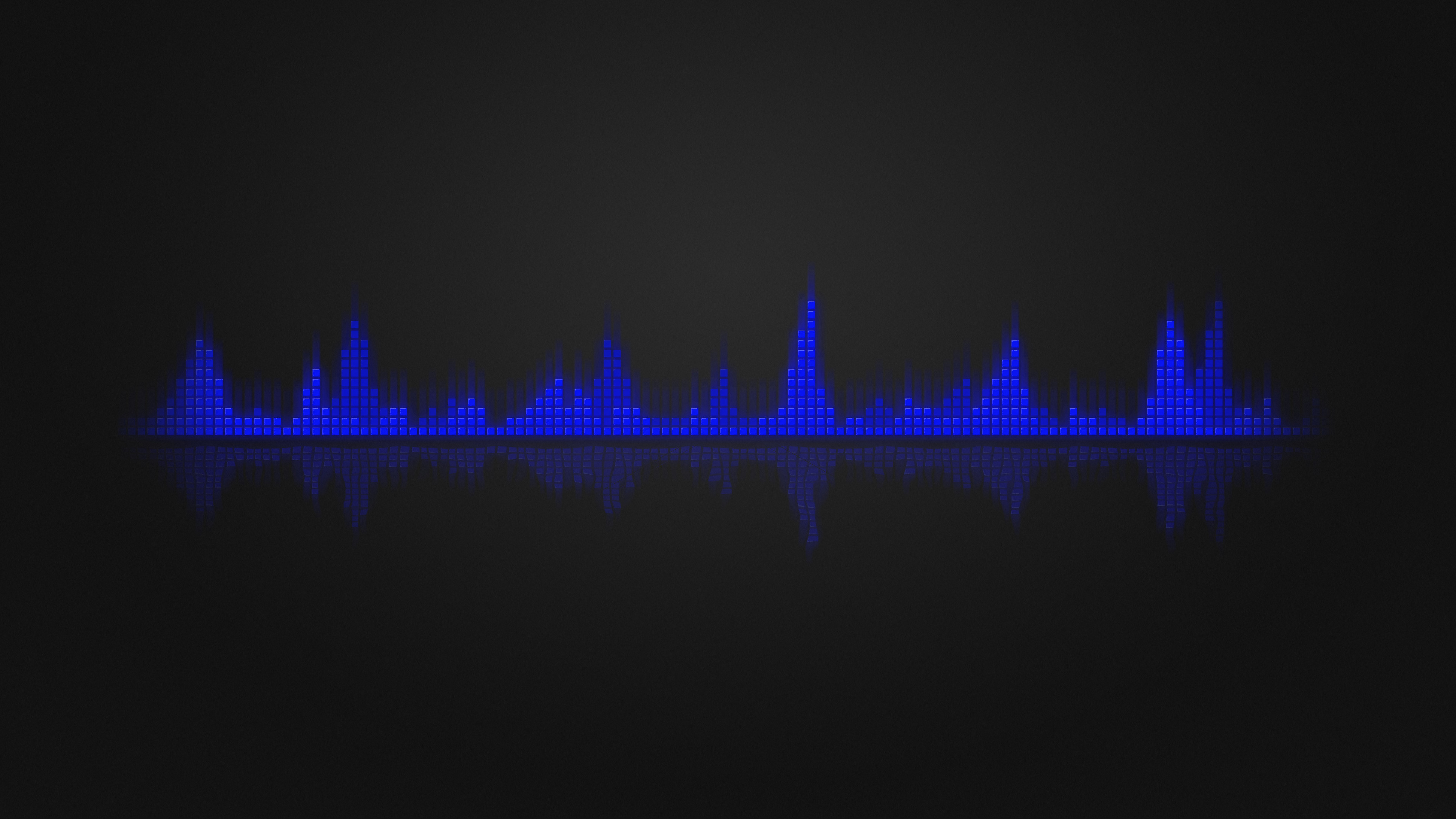 Res: 3840x2160, Abstract - Black Equalizer Music Blue Wallpaper