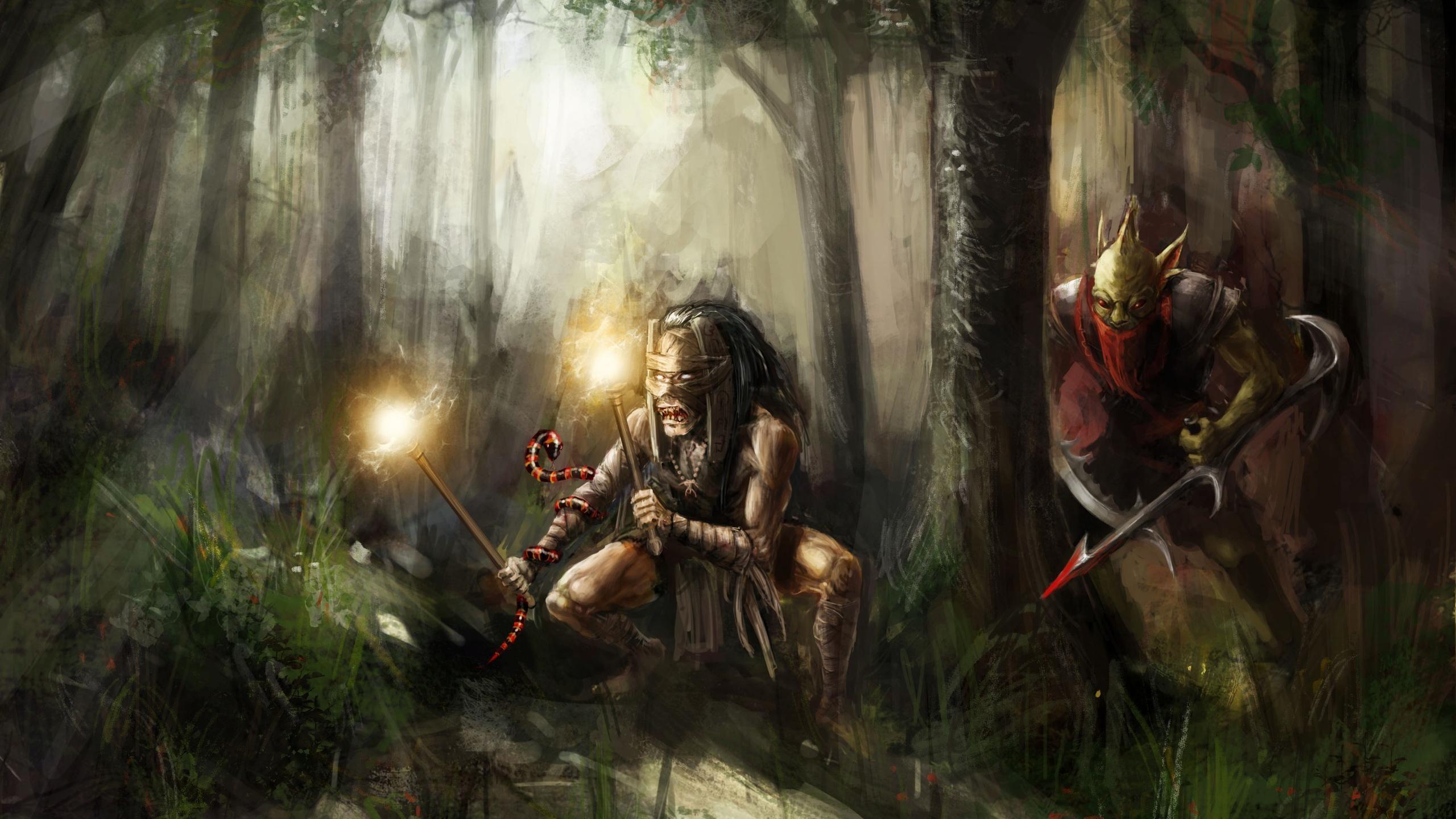 Res: 2560x1440, bounty hunter, shadow shaman, dota 2