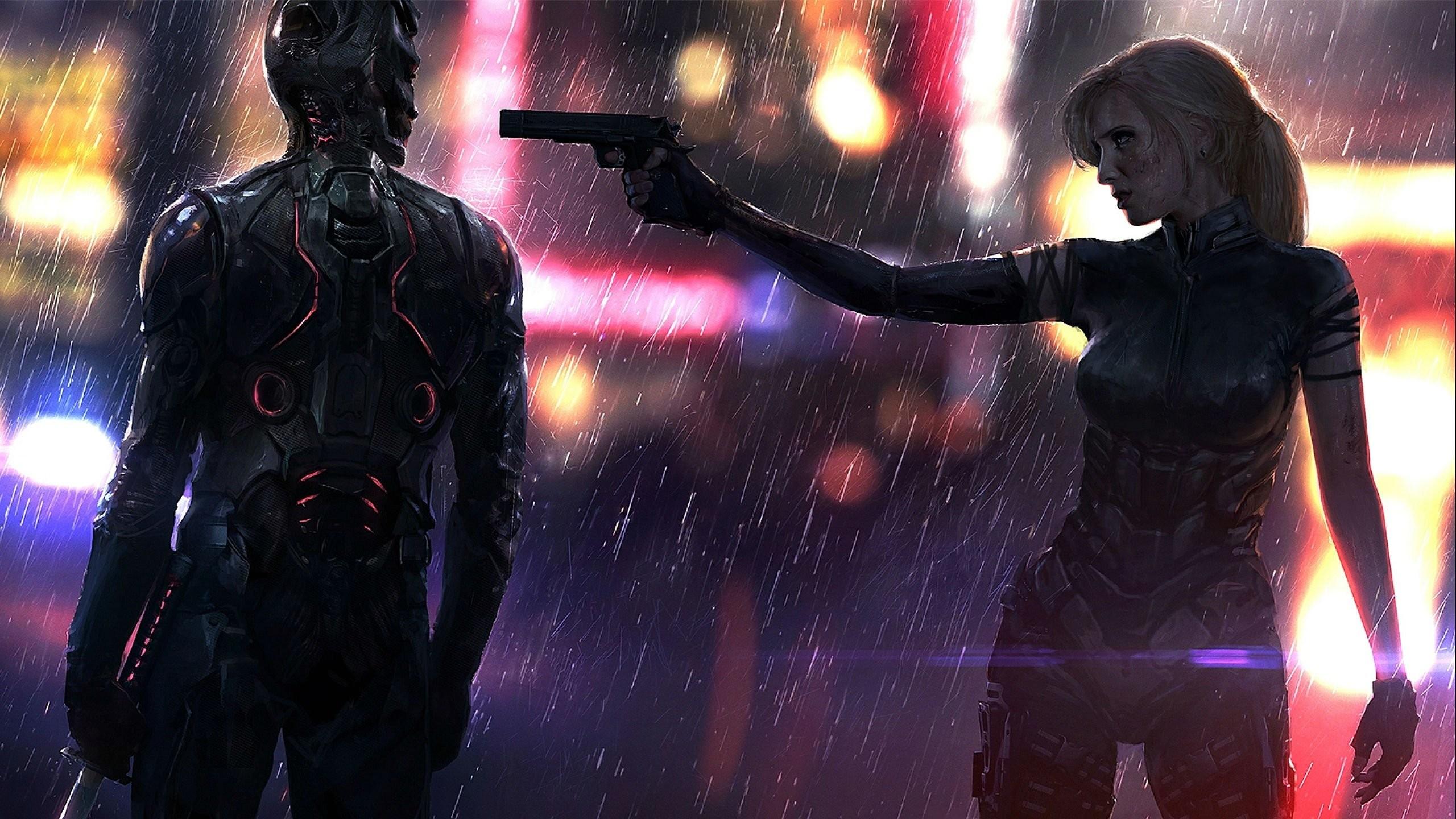 Res: 2560x1440, LAST MAN STANDING comics online killbook bounty hunter 1lmsk action  fighting sci-fi superhero hero heroes warrior adventure girl weapon gun  rain detail ...