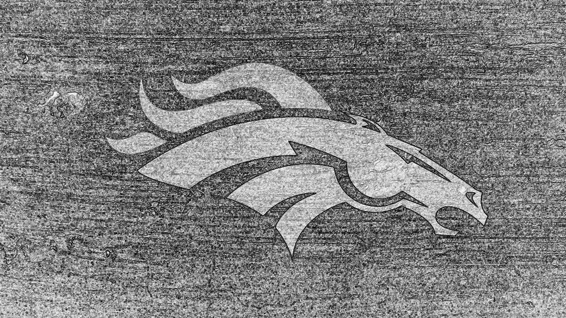 Res: 1920x1080, denver broncos logo sketch bw on concrete