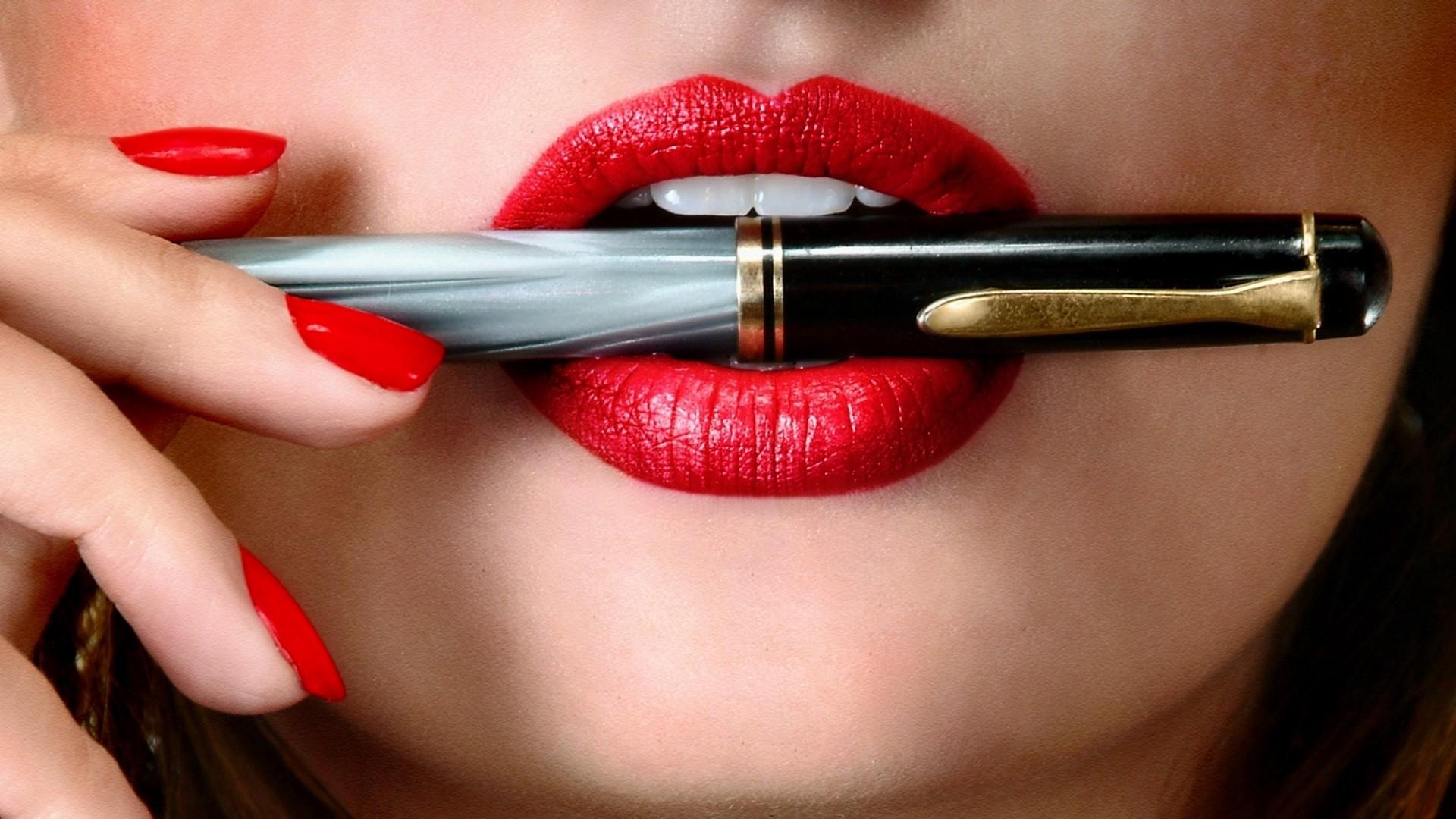 Res: 1920x1080,  Wallpaper hand, lips, girl, pen, lipstick, nail polish