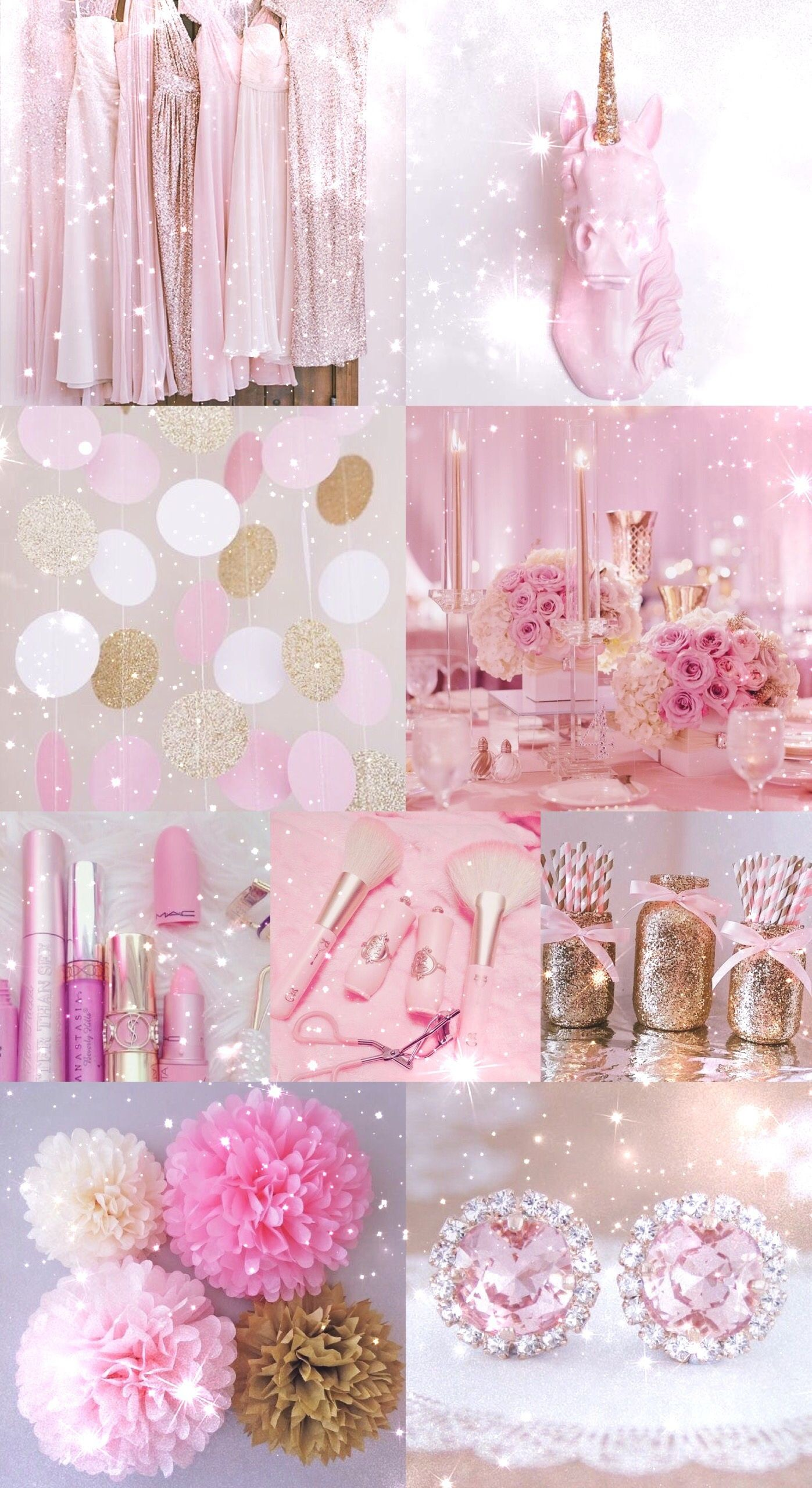 Res: 1397x2560, pink, gold, wallpaper, background, hd, iPhone, glitter, sparkle,