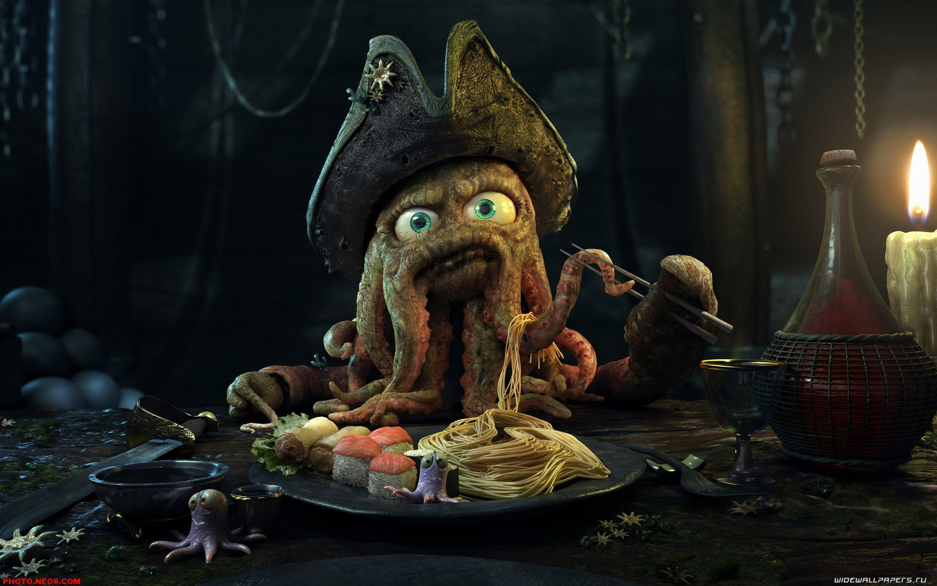 Res: 1920x1200, 3D Animation Wallpaper. Cute Octopus