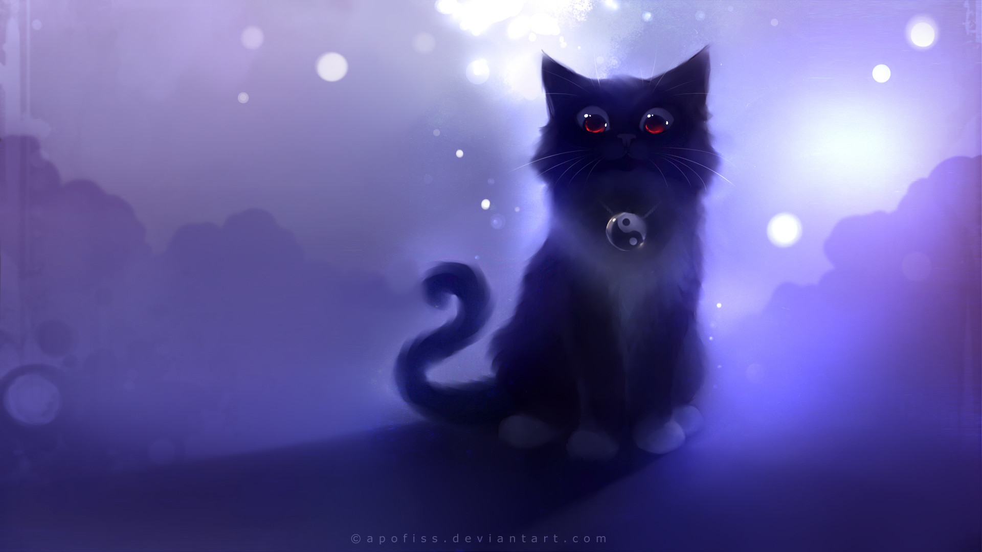 Res: 1920x1080,  Download Wallpaper  Cat, Black, Drawing, Night, Apofiss