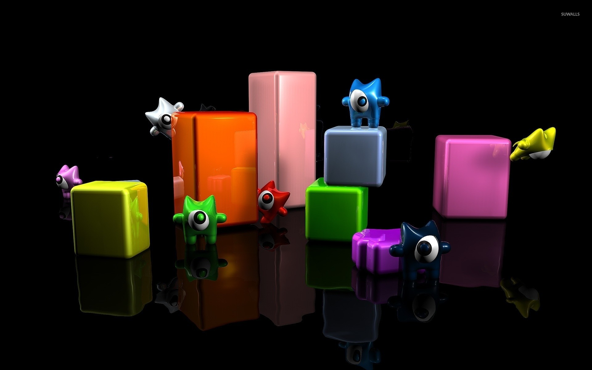 Res: 1920x1200, Cute monsters on cuboids wallpaper