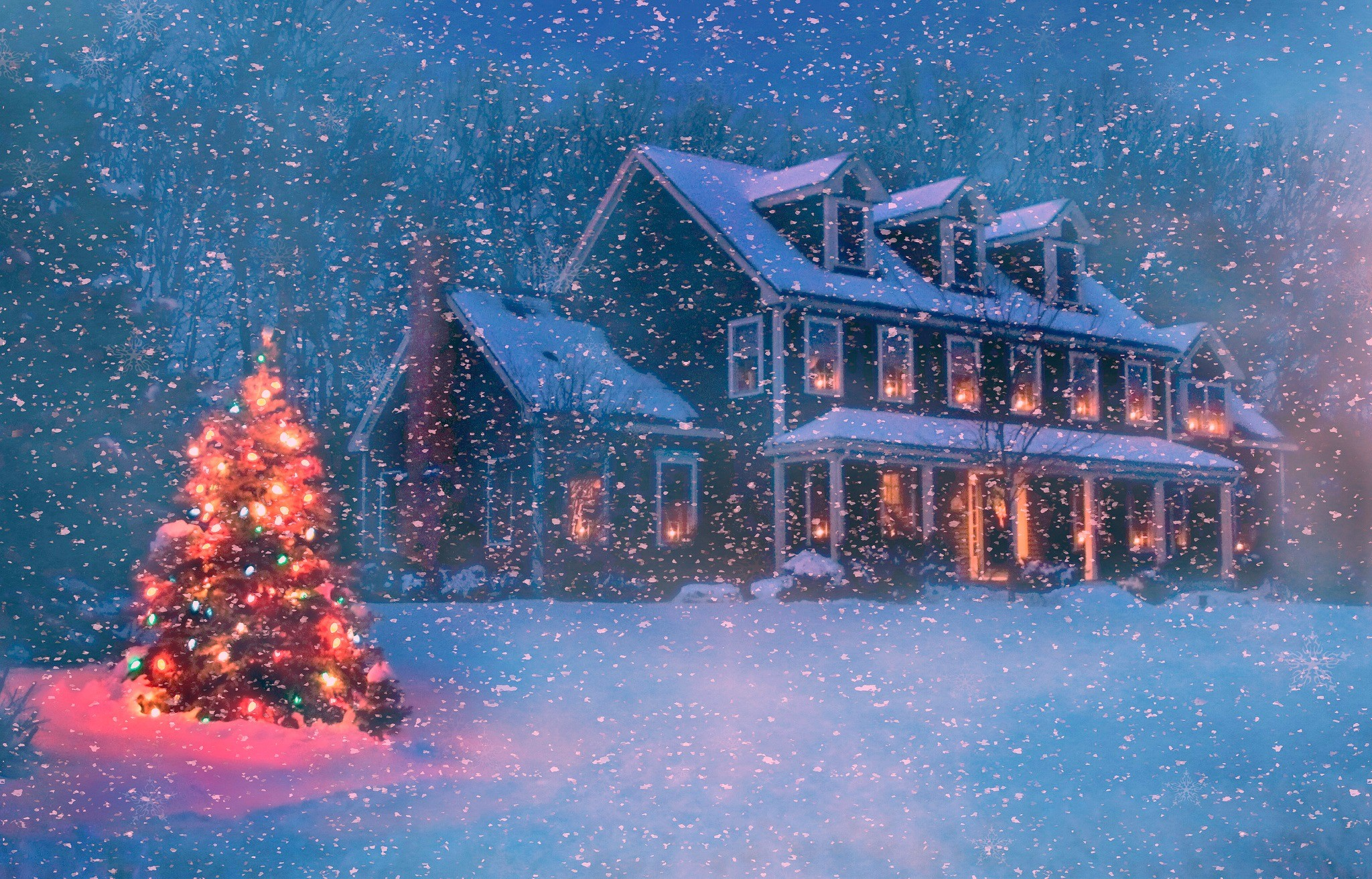 Res: 2048x1312, Holiday - Christmas Holiday Christmas Tree Snowfall Snow House Light  Wallpaper