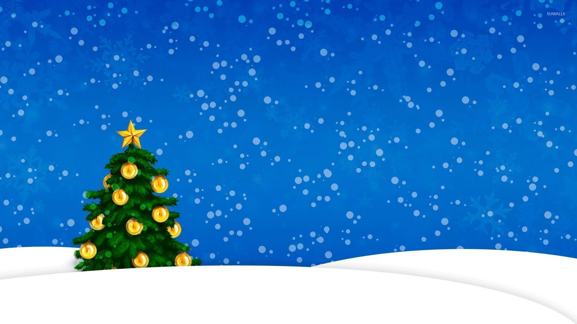 Res: 1920x1080, Snow falling on the golden Christmas tree wallpaper · Holidays · Christmas  · Winter ...